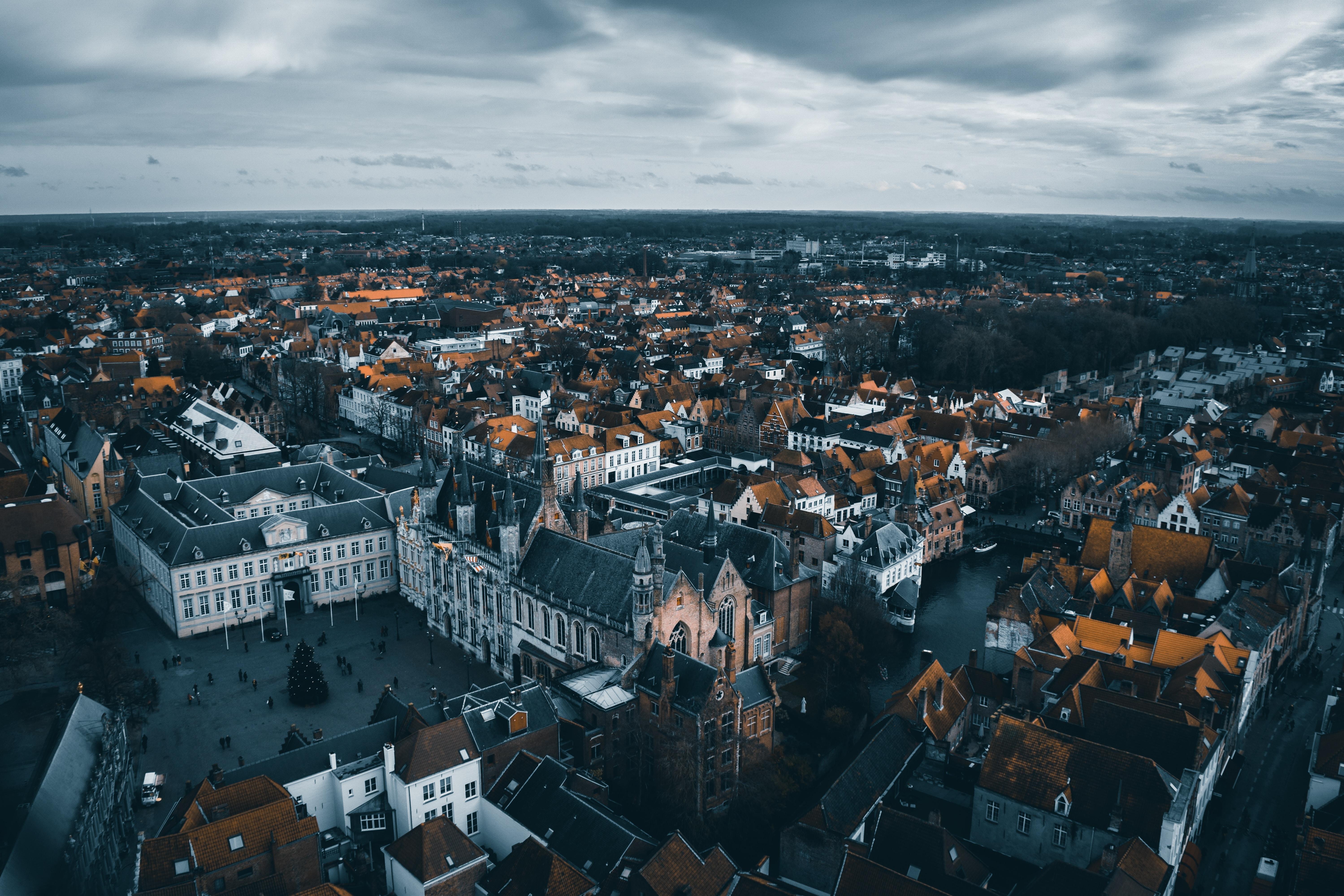 152685 免費下載壁紙 城市, 建造, 建筑物, 从上面看, 顶视图, 布鲁日, 比利时, 建筑 屏保和圖片