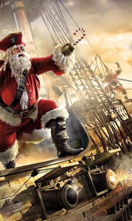 15128 download wallpaper Funny, Pirats, New Year, Santa Claus, Christmas, Xmas screensavers and pictures for free