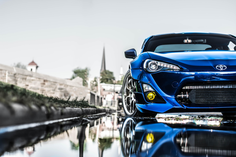 124197 скачать обои Тюнинг, Тойота (Toyota), Тачки (Cars), Синий, Передний Бампер - заставки и картинки бесплатно