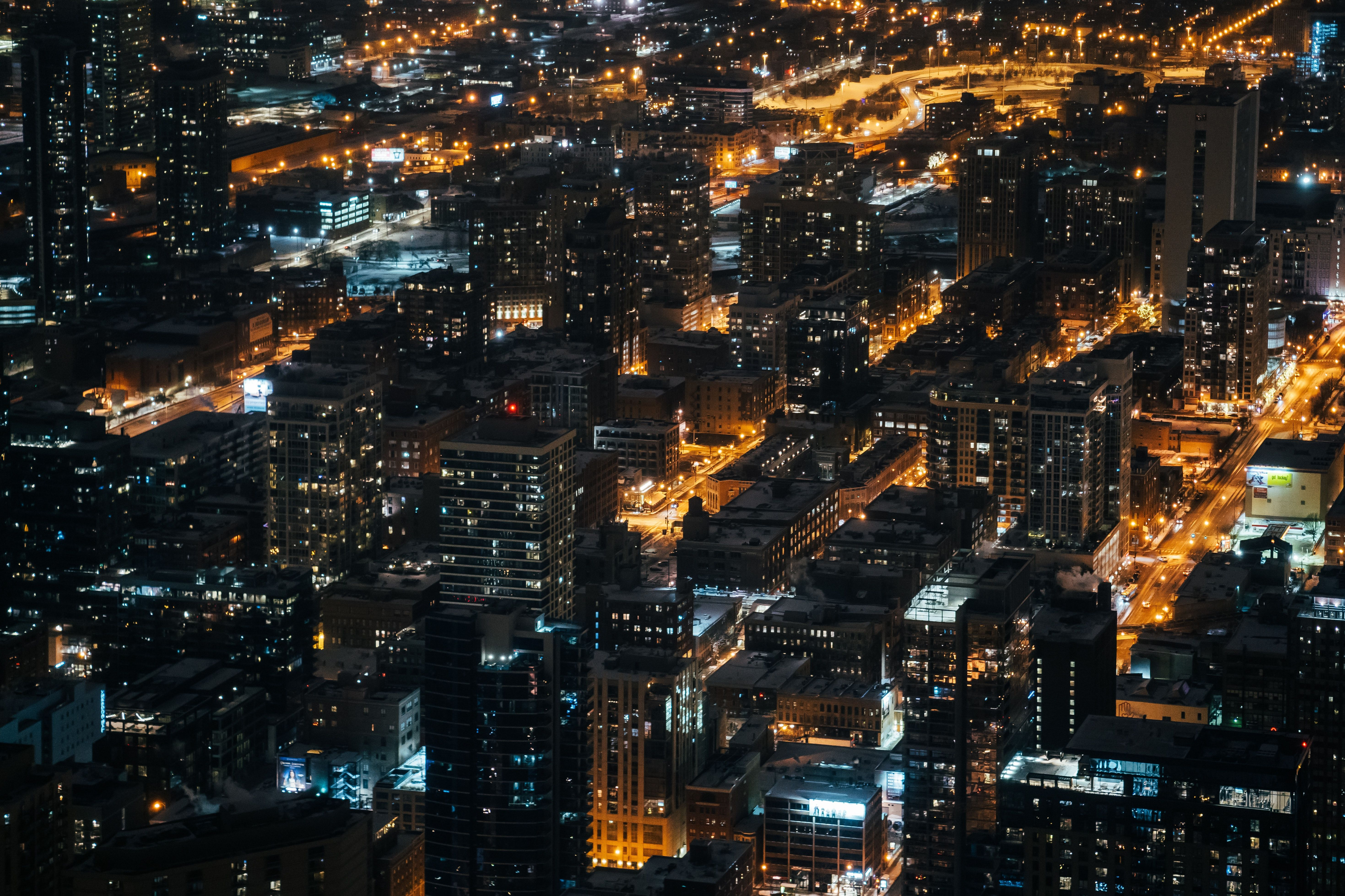 50446 Screensavers and Wallpapers Night City for phone. Download Cities, Building, View From Above, Night City, City Lights, Overview, Review pictures for free