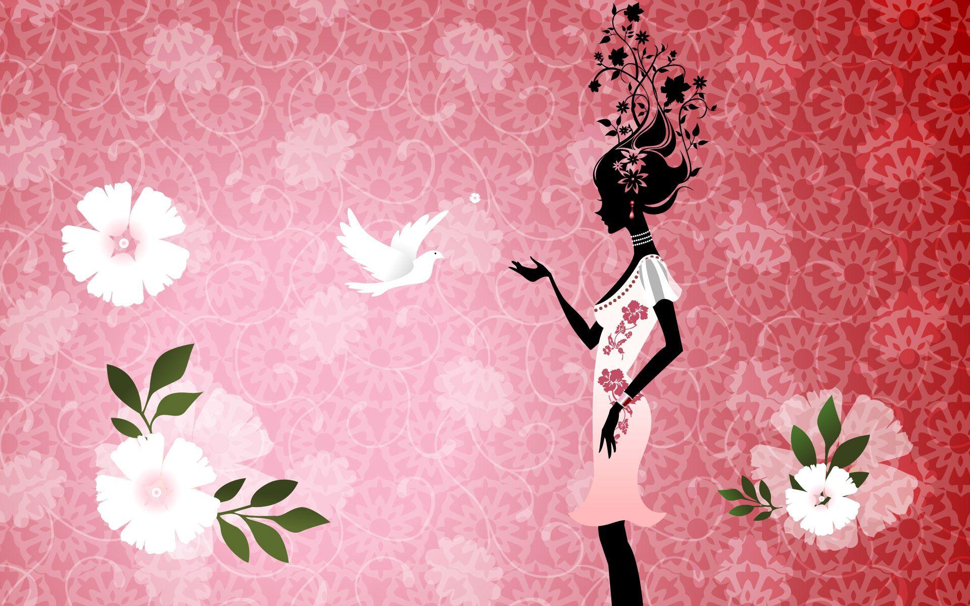 152833 Hintergrundbild herunterladen Blumen, Mädchen, Vektor, Silhouette, Vogel, Kleid - Bildschirmschoner und Bilder kostenlos