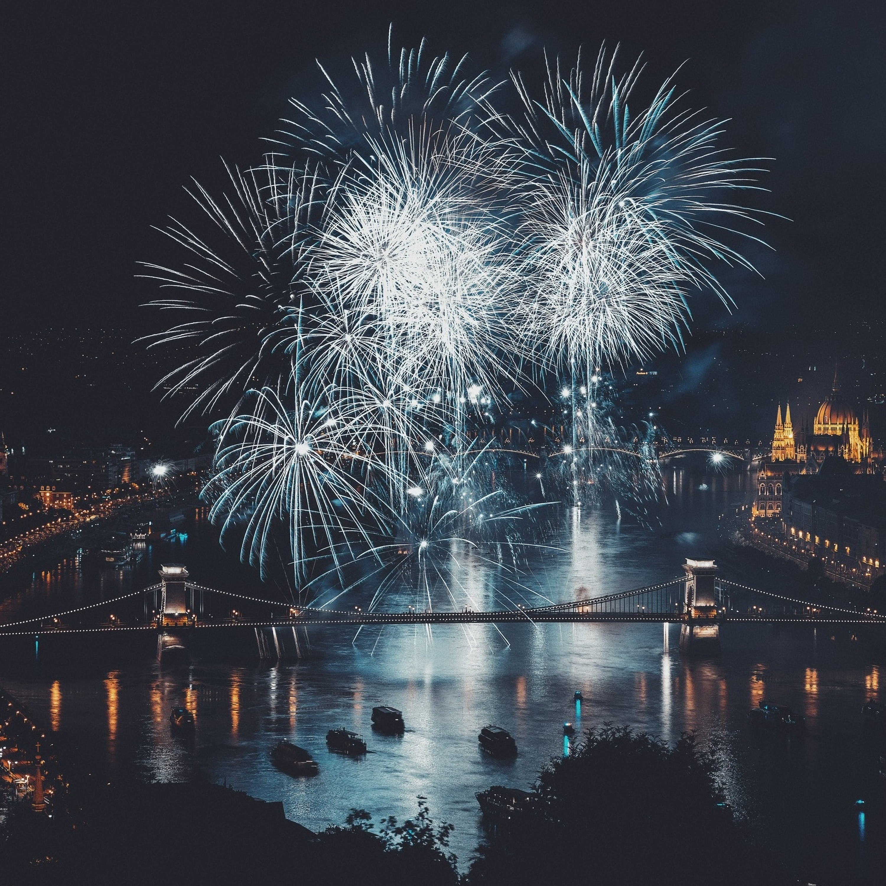 112974 download wallpaper Holidays, Rivers, Night, Salute, City, Bridge screensavers and pictures for free