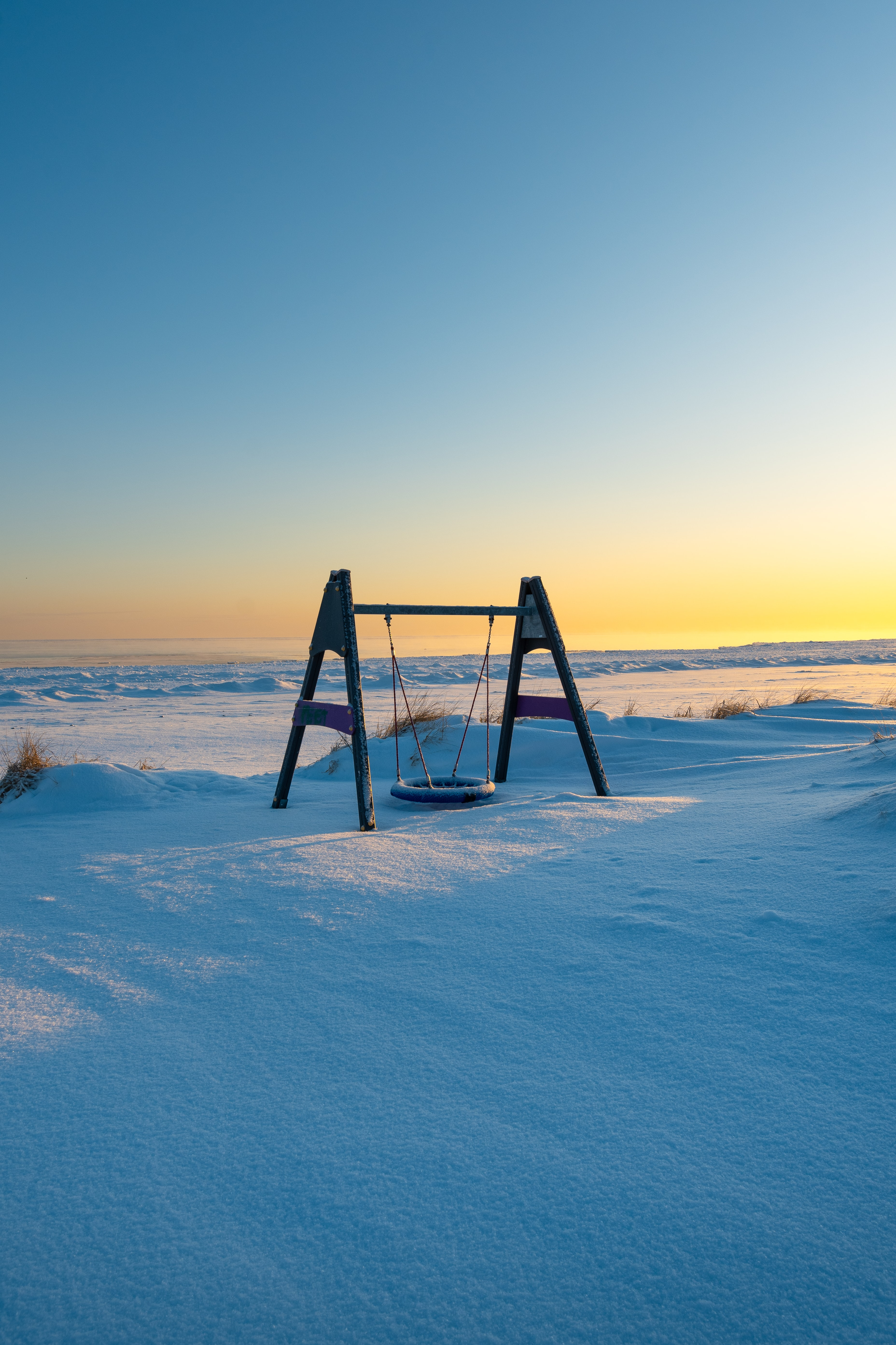 135705 download wallpaper Nature, Swing, Snow, Winter screensavers and pictures for free