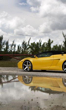 63759 baixe gratuitamente papéis de parede de Amarelo para seu telefone, Carros, Lamborghini, Gallardo, Lp560-4 Spyder imagens e protetores de tela de Amarelo para seu celular