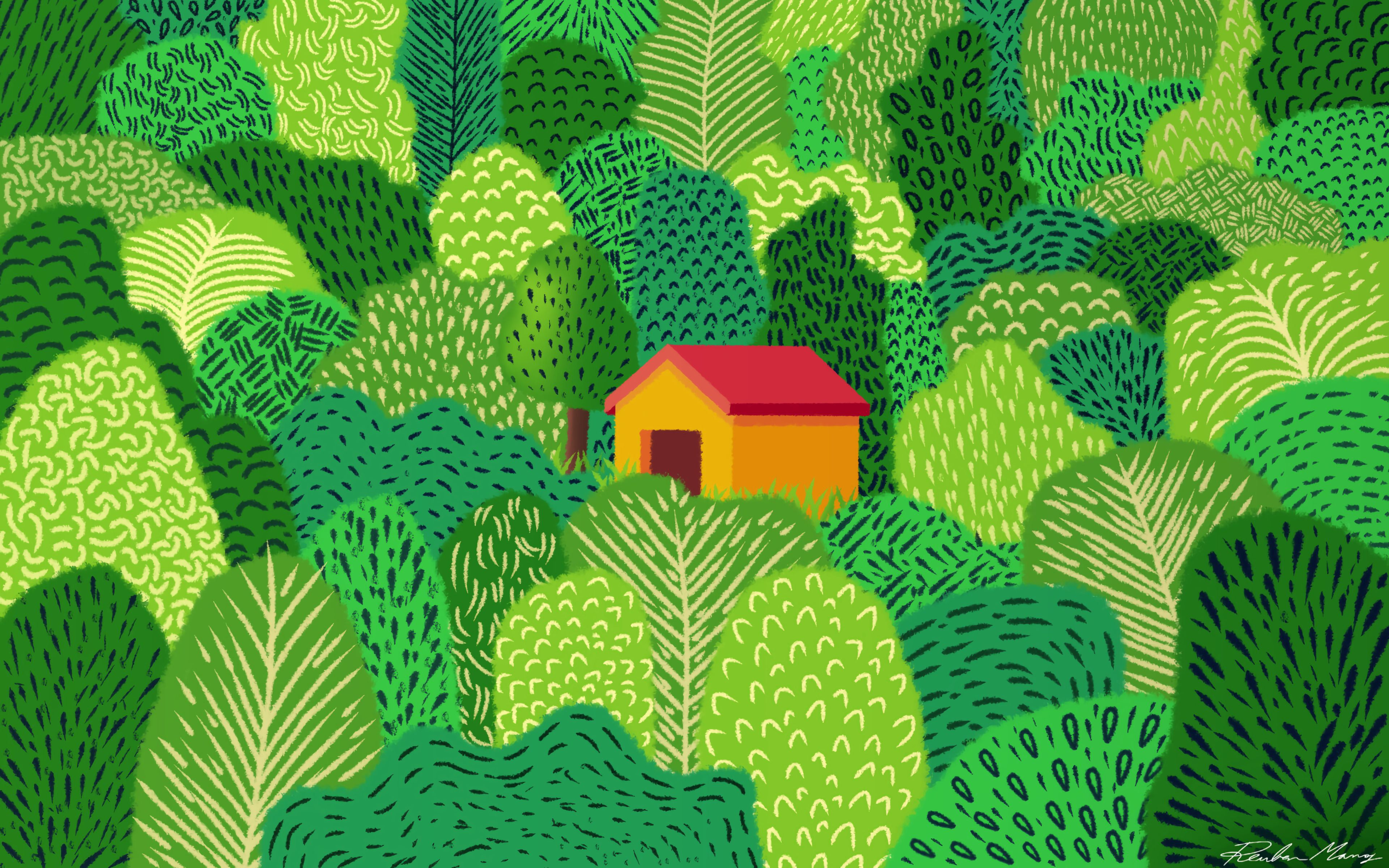 119827 Screensavers and Wallpapers Small House for phone. Download Trees, Art, Forest, Small House, Lodge pictures for free
