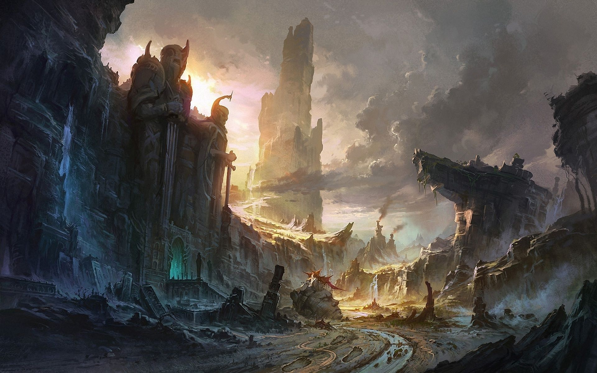 67569 download wallpaper Fantasy, Rocks, Destruction, City, Waterfall, Landscape screensavers and pictures for free
