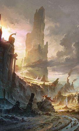 67569 скачать обои Фэнтези, Скалы, Разрушение, Город, Водопад, Пейзаж - заставки и картинки бесплатно