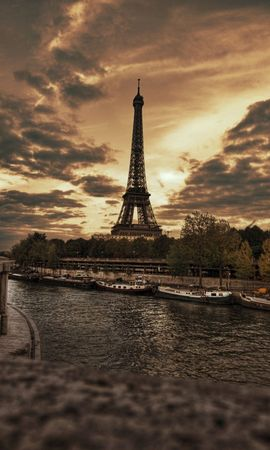 135431 baixar papel de parede Paris, O Dique, Cais, Hdr, Cidades, Torre Eiffel - protetores de tela e imagens gratuitamente