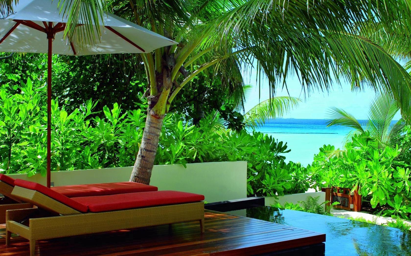 132670 télécharger le fond d'écran Palms, Nature, Végétation, Légumes Verts, Verdure, Tropiques, Balancelle, Transat, Chaises, Recours, Maldives, Les Fauteuils - économiseurs d'écran et images gratuitement