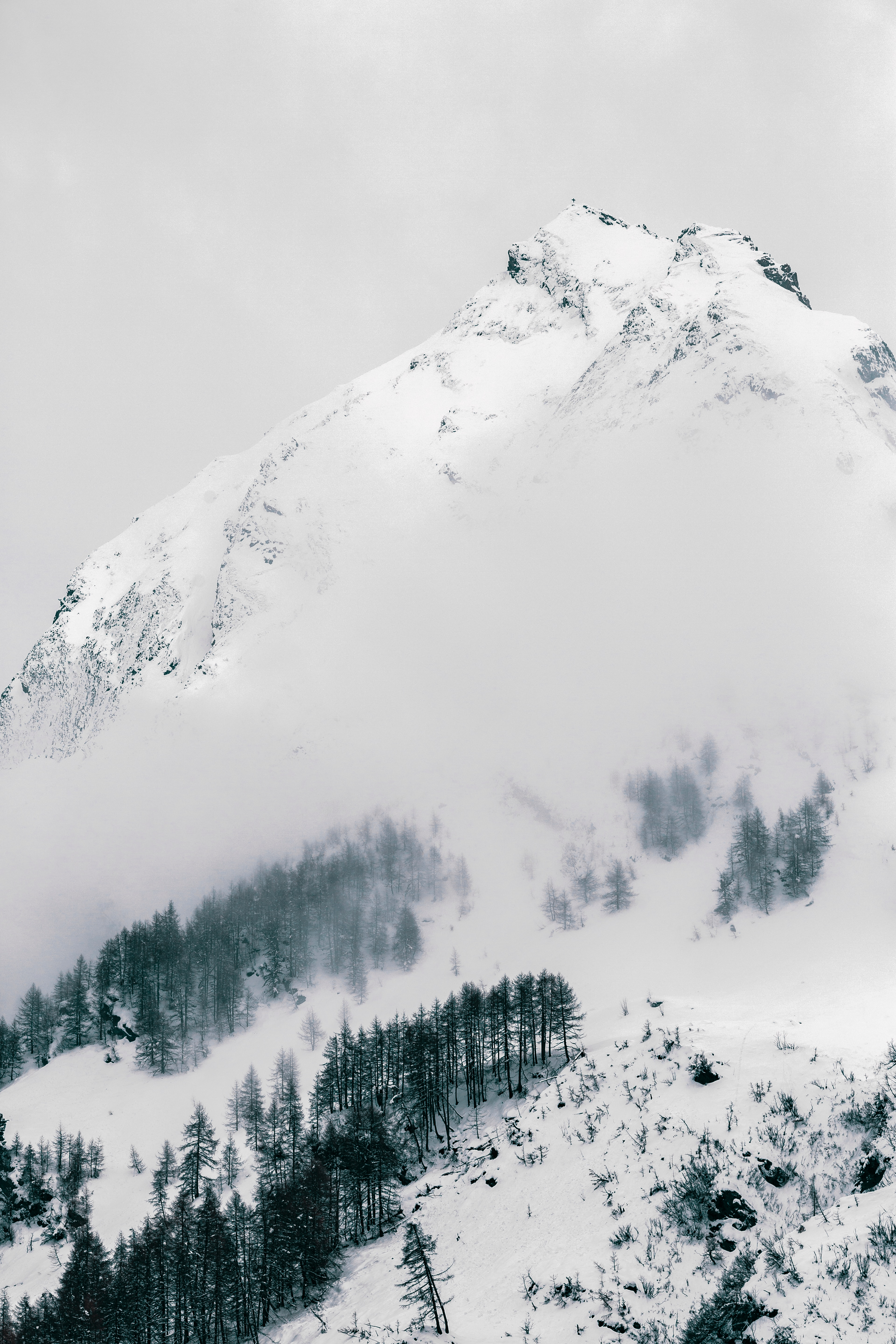 55598 download wallpaper Nature, Mountain, Vertex, Top, Snow Covered, Snowbound, Slope, Winter screensavers and pictures for free
