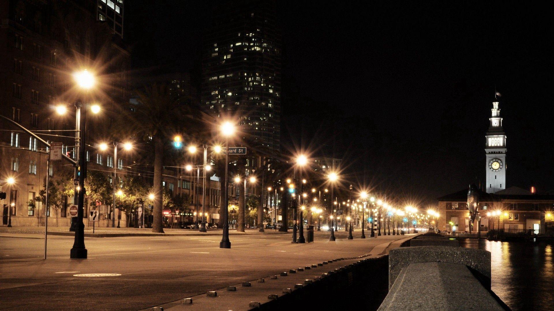 51393 скачать обои Города, Ночь, Сша (Usa), Город, Дорога, Огни Города, Сша, Америка, America - заставки и картинки бесплатно