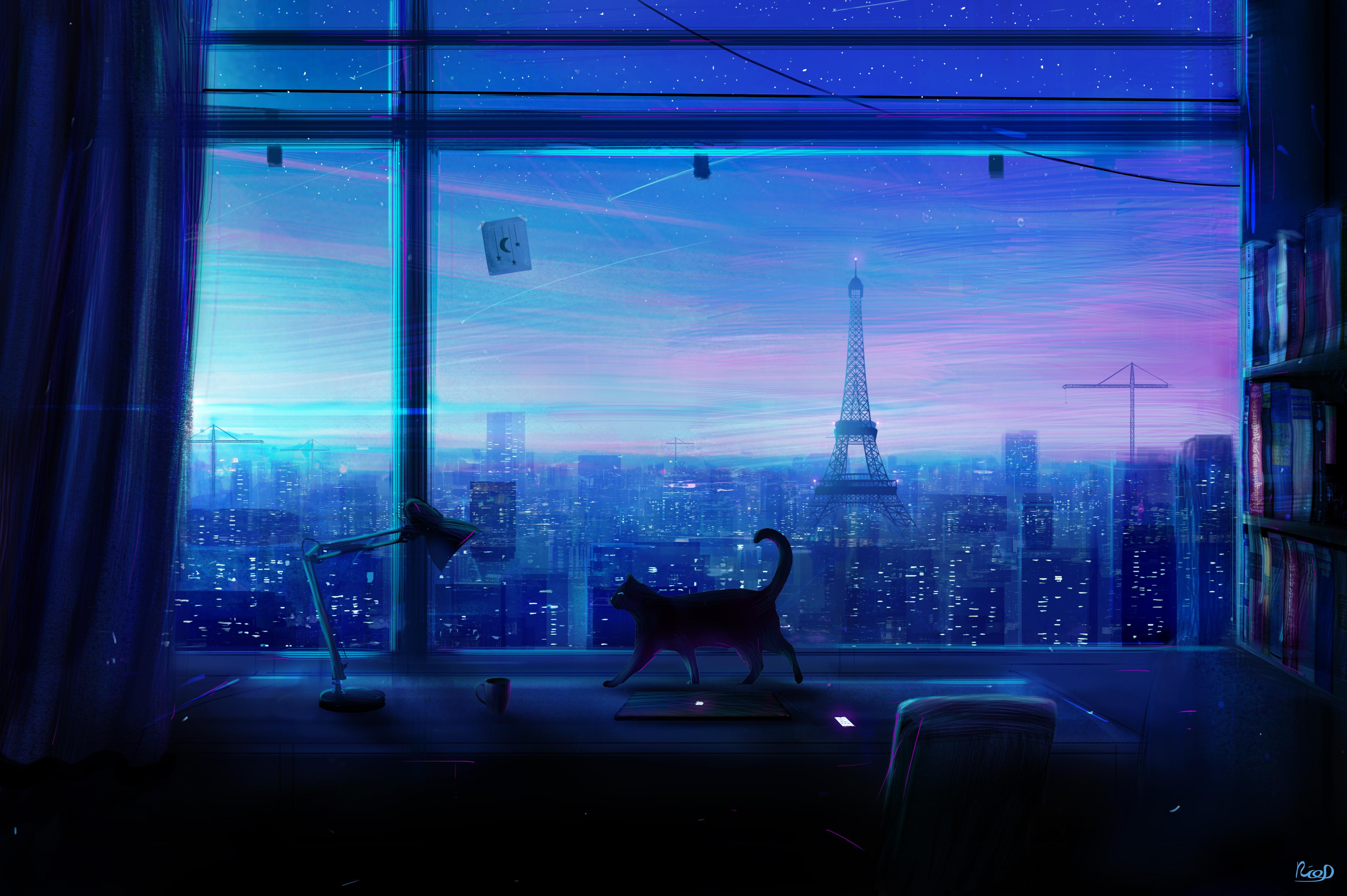 138842 Hintergrundbild herunterladen Katze, Kunst, Stadt, Fenster, Aussicht, Ansehen - Bildschirmschoner und Bilder kostenlos