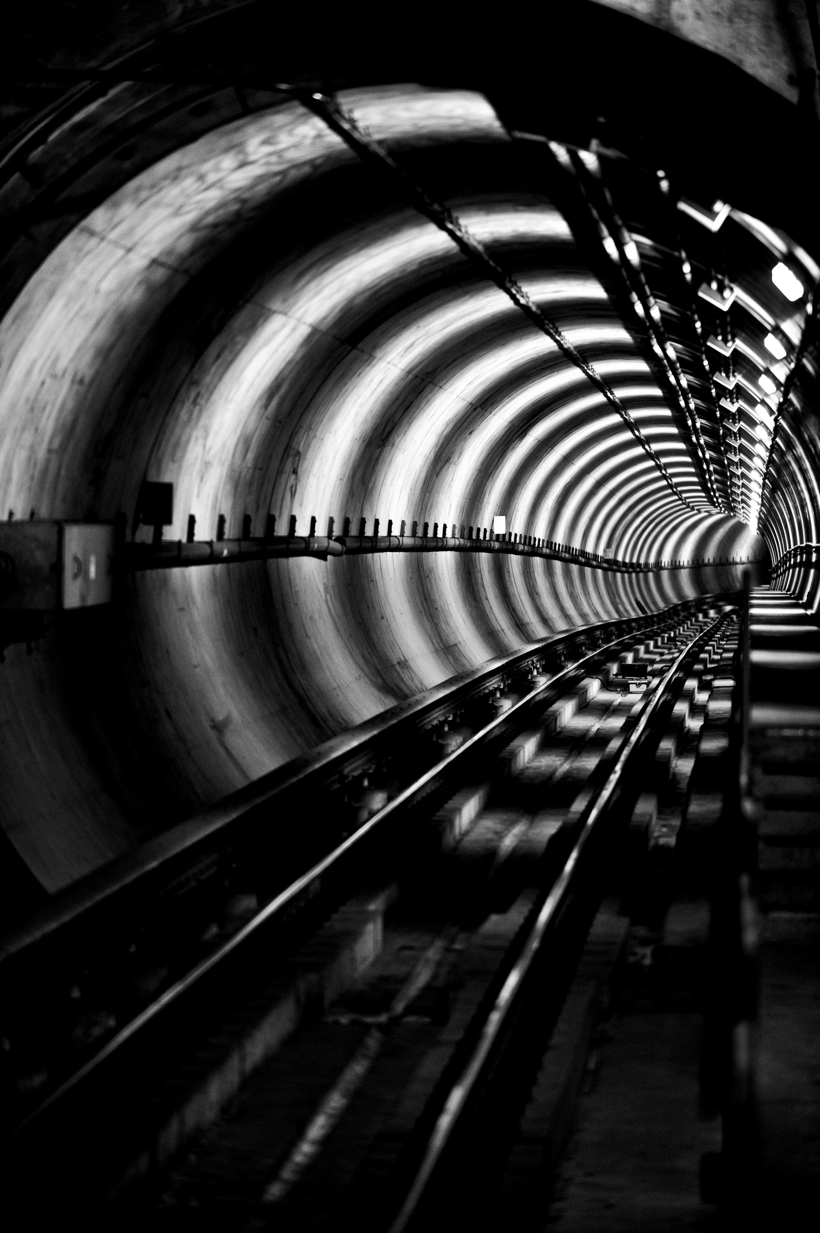 127714 Screensavers and Wallpapers Metro for phone. Download Miscellanea, Miscellaneous, Bw, Tunnel, Underground, Rails, Metro, Subway pictures for free