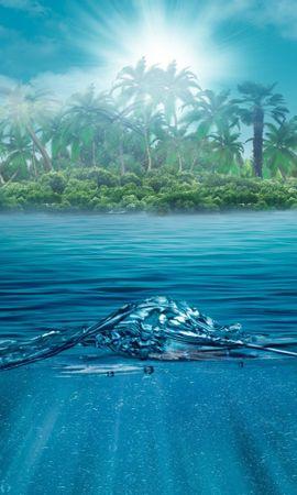 20173 скачать обои Пейзаж, Вода, Море, Солнце, Волны, Пальмы - заставки и картинки бесплатно
