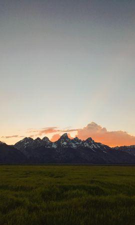 154662 скачать обои Природа, Равнина, Вершины, Сумерки, Горы, Пейзаж - заставки и картинки бесплатно
