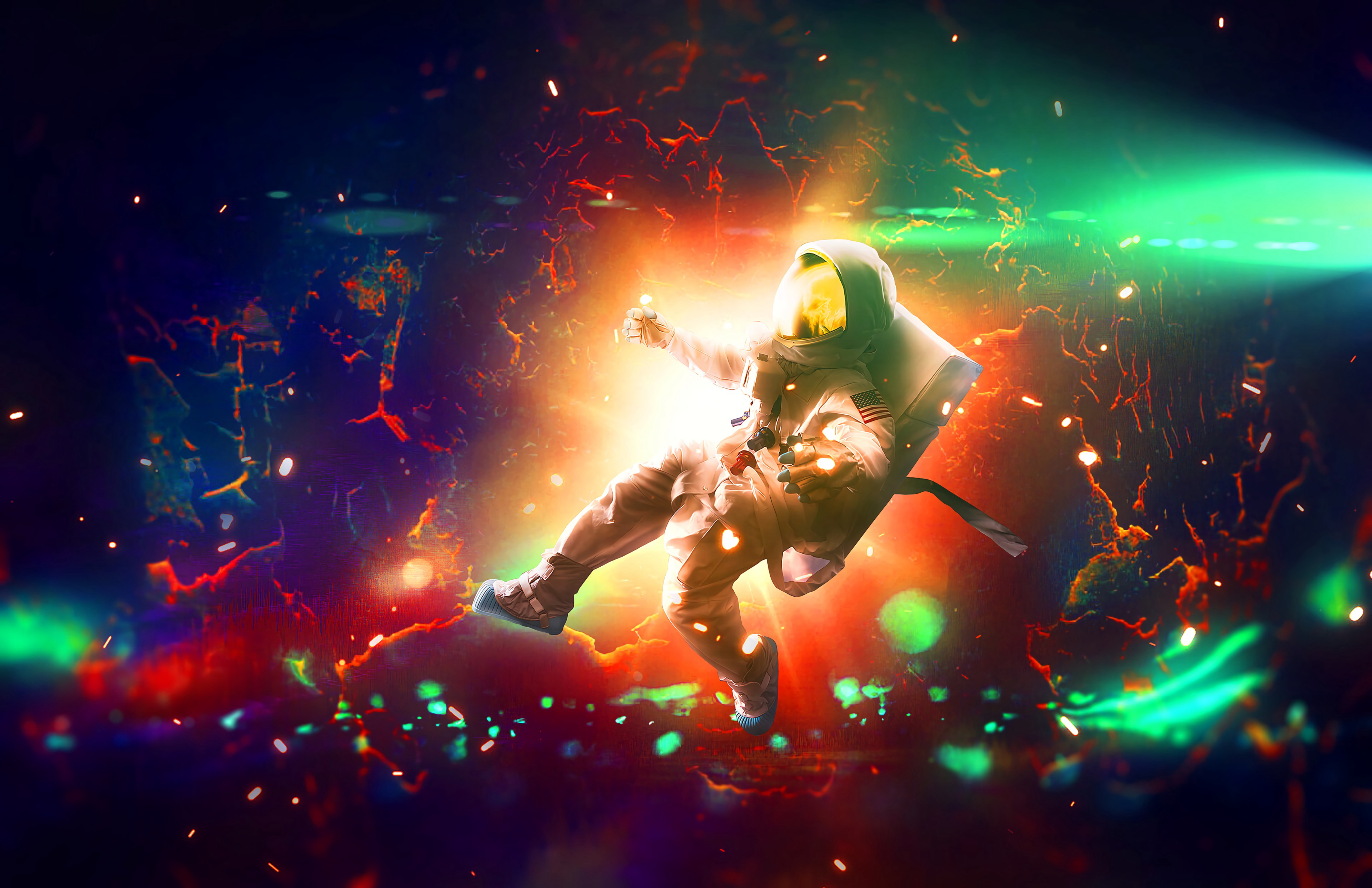 152386 Screensavers and Wallpapers Sparks for phone. Download Universe, Bright, Sparks, Multicolored, Motley, Flash, Astronaut pictures for free