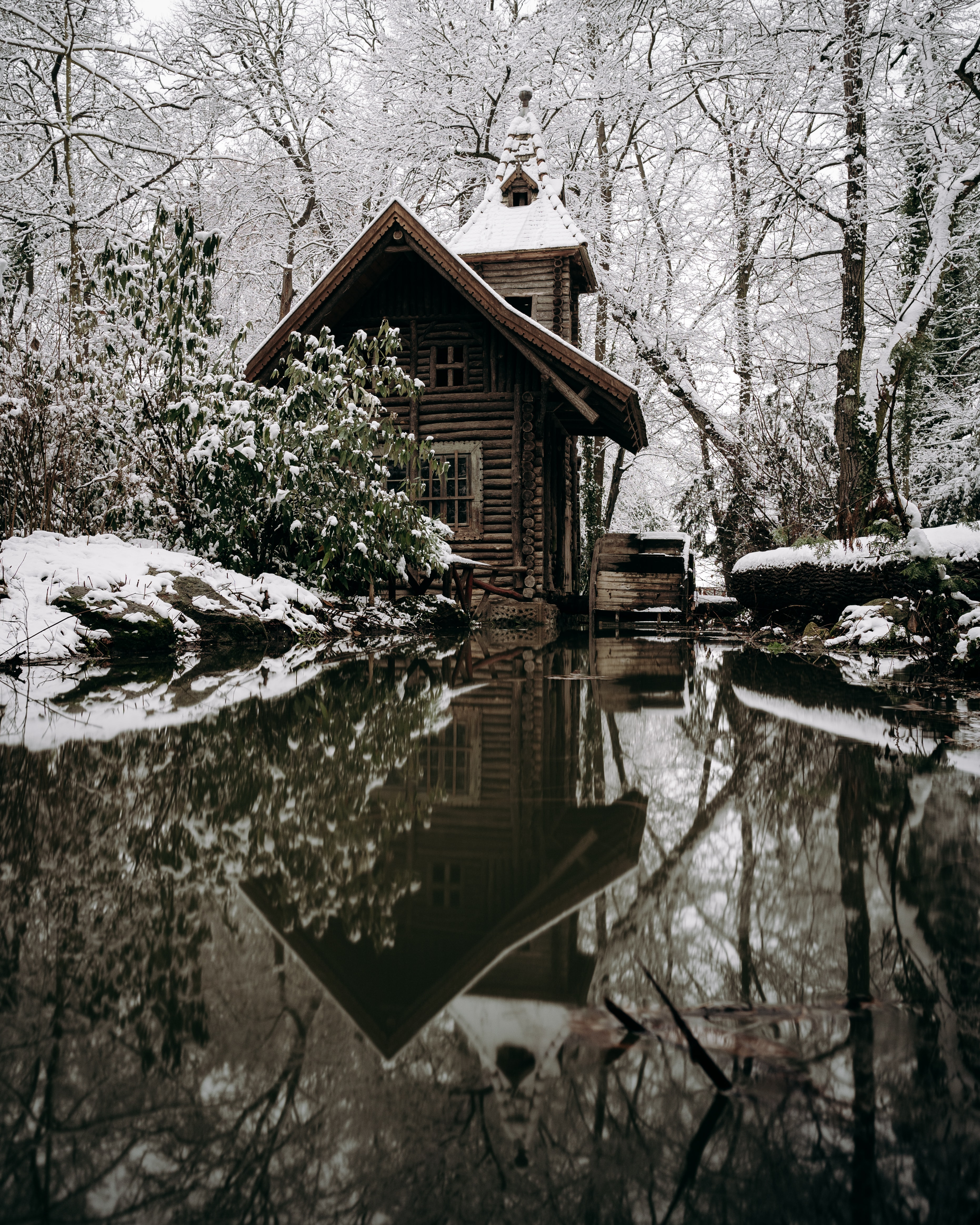 145521 Screensavers and Wallpapers Small House for phone. Download Winter, Nature, Rivers, Snow, Small House, Lodge pictures for free