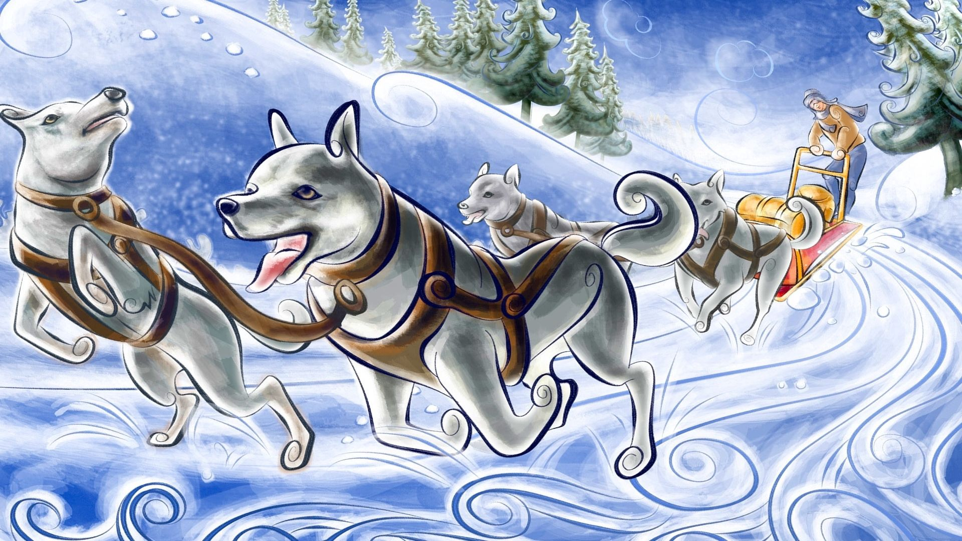 120620 download wallpaper Art, Picture, Drawing, Dogs, Carriage, Cart, Team, Snow, Run, Running screensavers and pictures for free