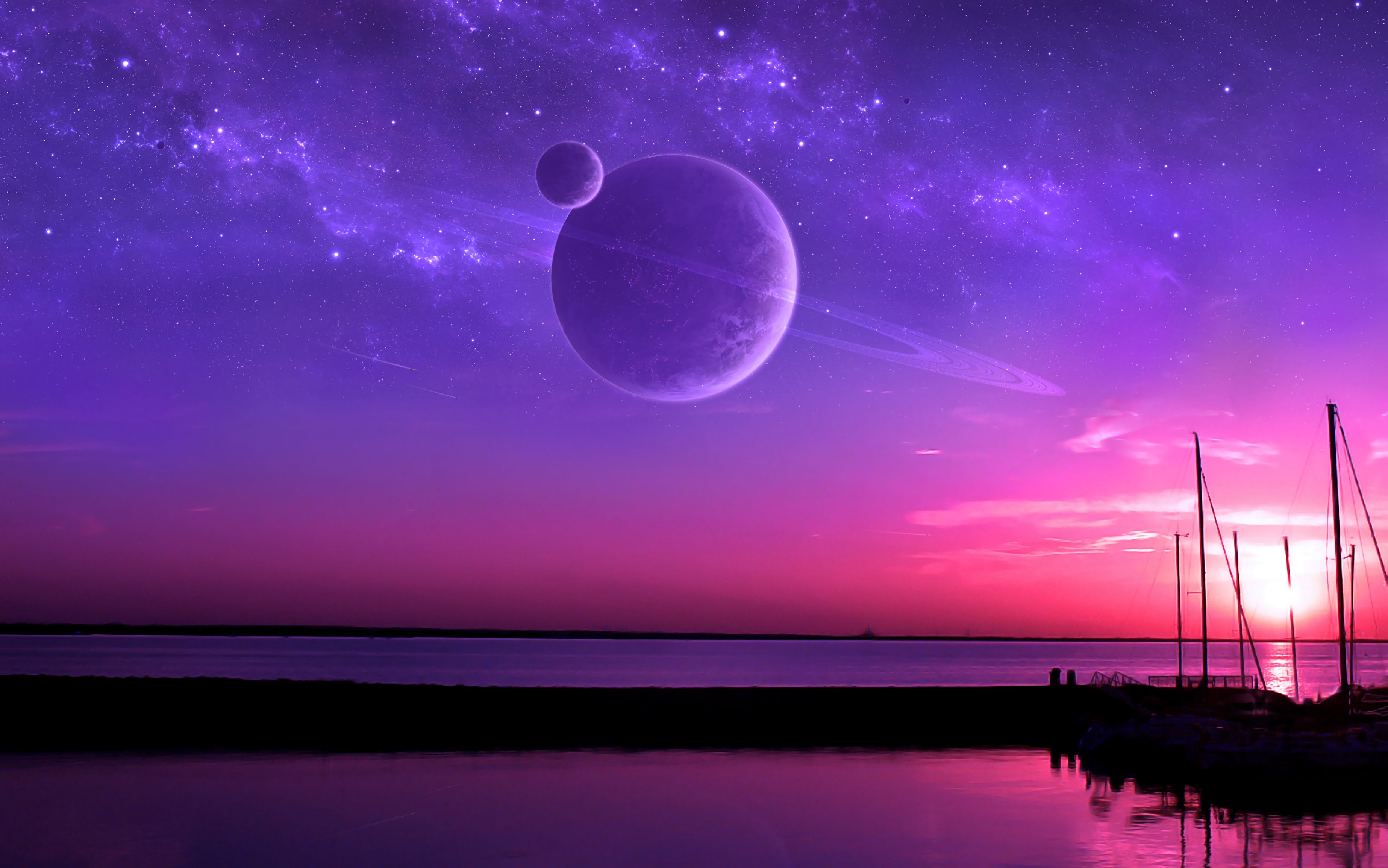 72308 download wallpaper Satellite, Horizon, Sea, Art, Planets screensavers and pictures for free