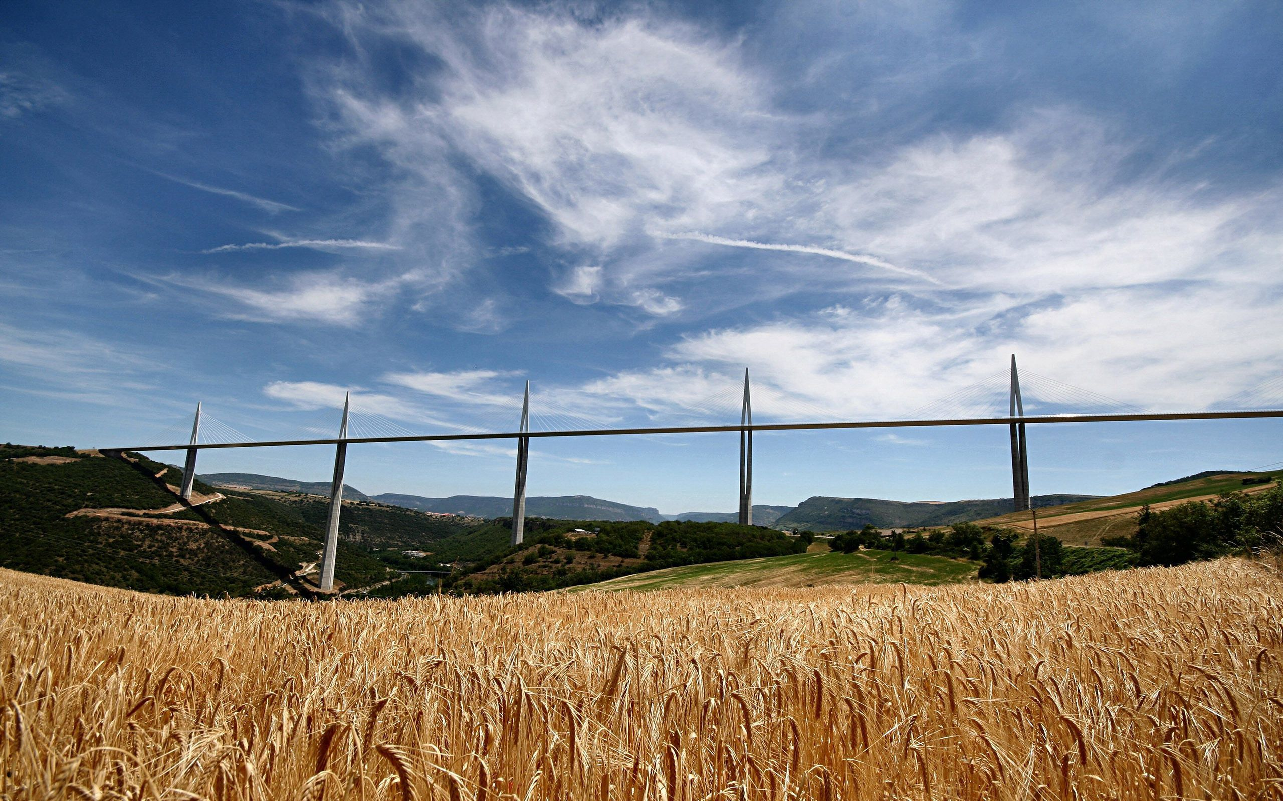 122451 Screensavers and Wallpapers Agriculture for phone. Download Nature, Wheat, Field, France, Bridge, Rye, Agriculture pictures for free