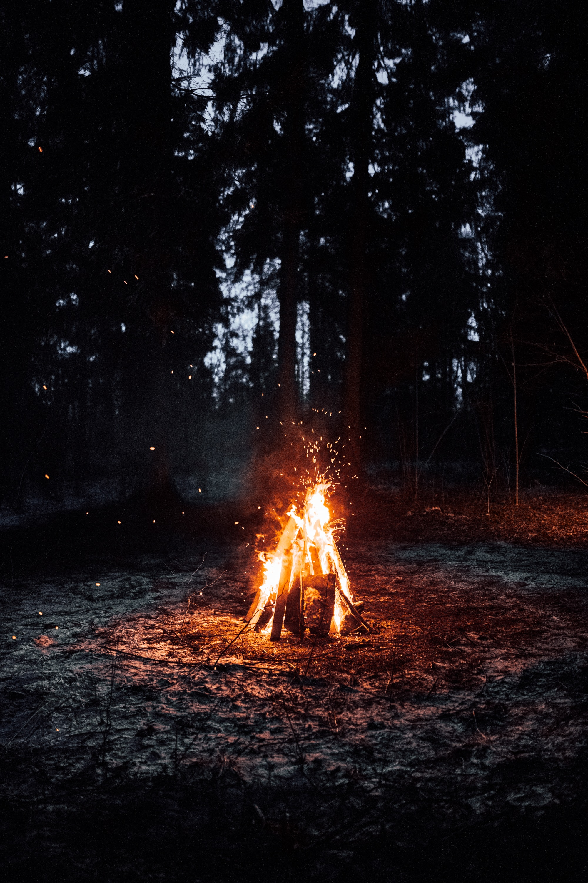 60143 Screensavers and Wallpapers Bonfire for phone. Download Fire, Bonfire, Dark, Sparks, Camping, Campsite pictures for free