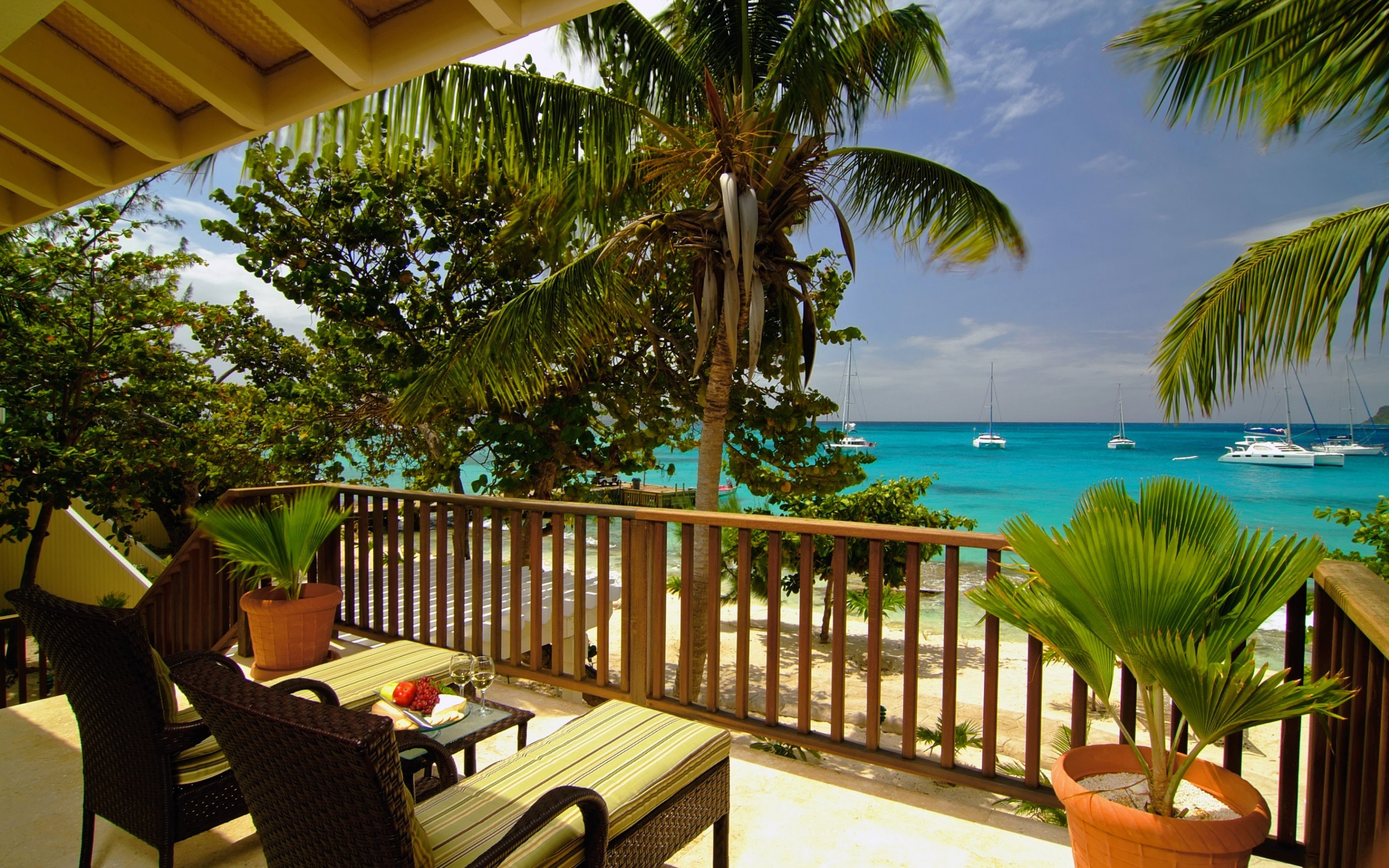 20906 download wallpaper Landscape, Sea, Beach, Palms screensavers and pictures for free