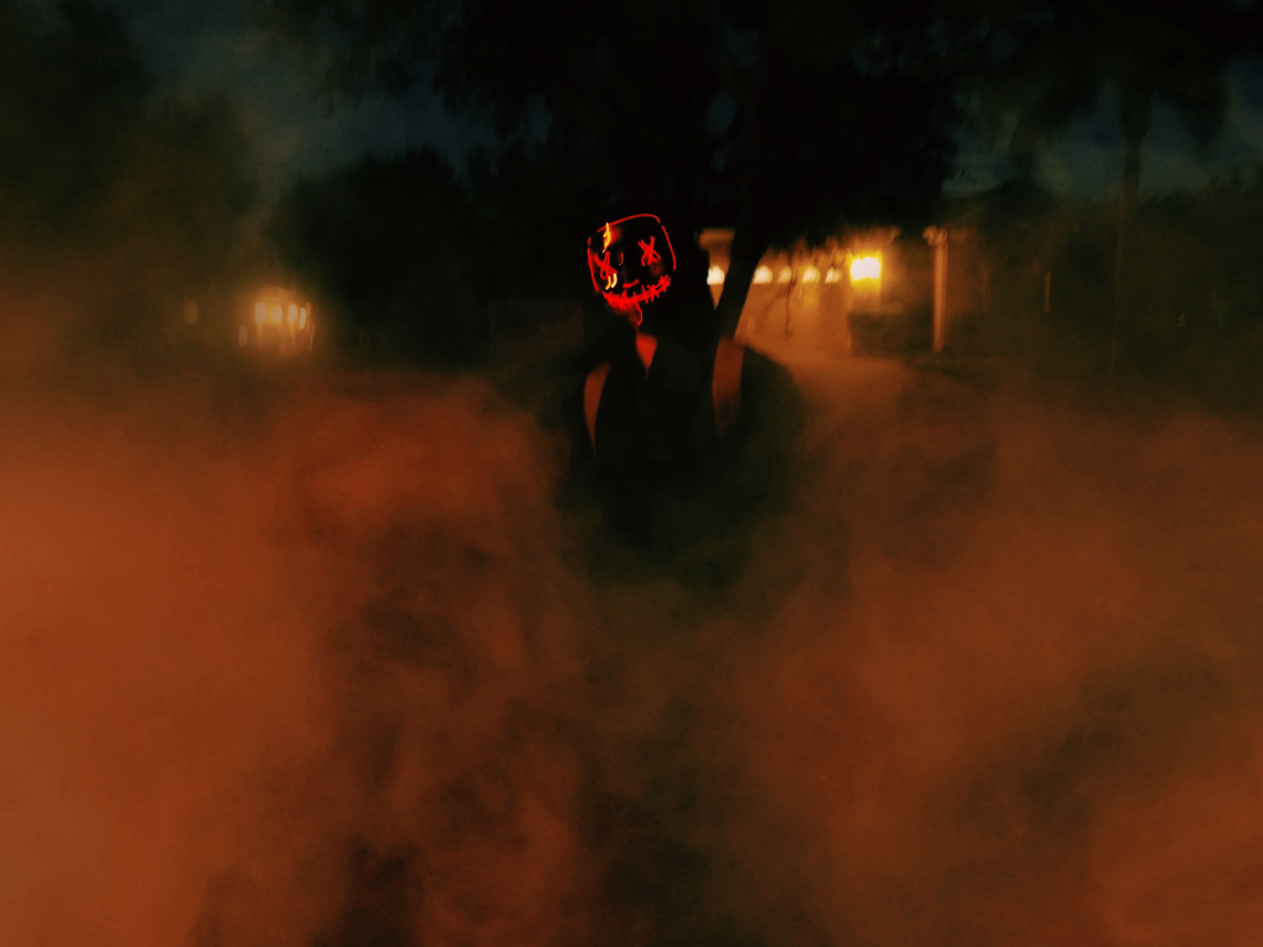 141898 download wallpaper Miscellanea, Miscellaneous, Human, Person, Mask, Night, Dark, Smoke screensavers and pictures for free