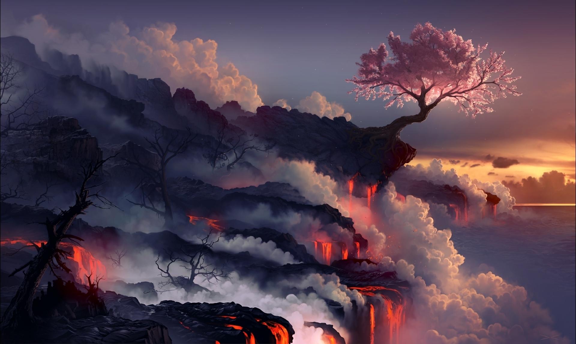 72068 Screensavers and Wallpapers Sakura for phone. Download Sakura, Nature, Wood, Tree, Volcano, Lava, Eruption pictures for free