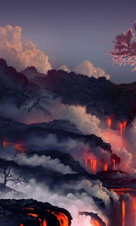 72068 baixar papel de parede Natureza, Erupção, Lava, Vulcão, Sakura, Madeira, Árvore - protetores de tela e imagens gratuitamente