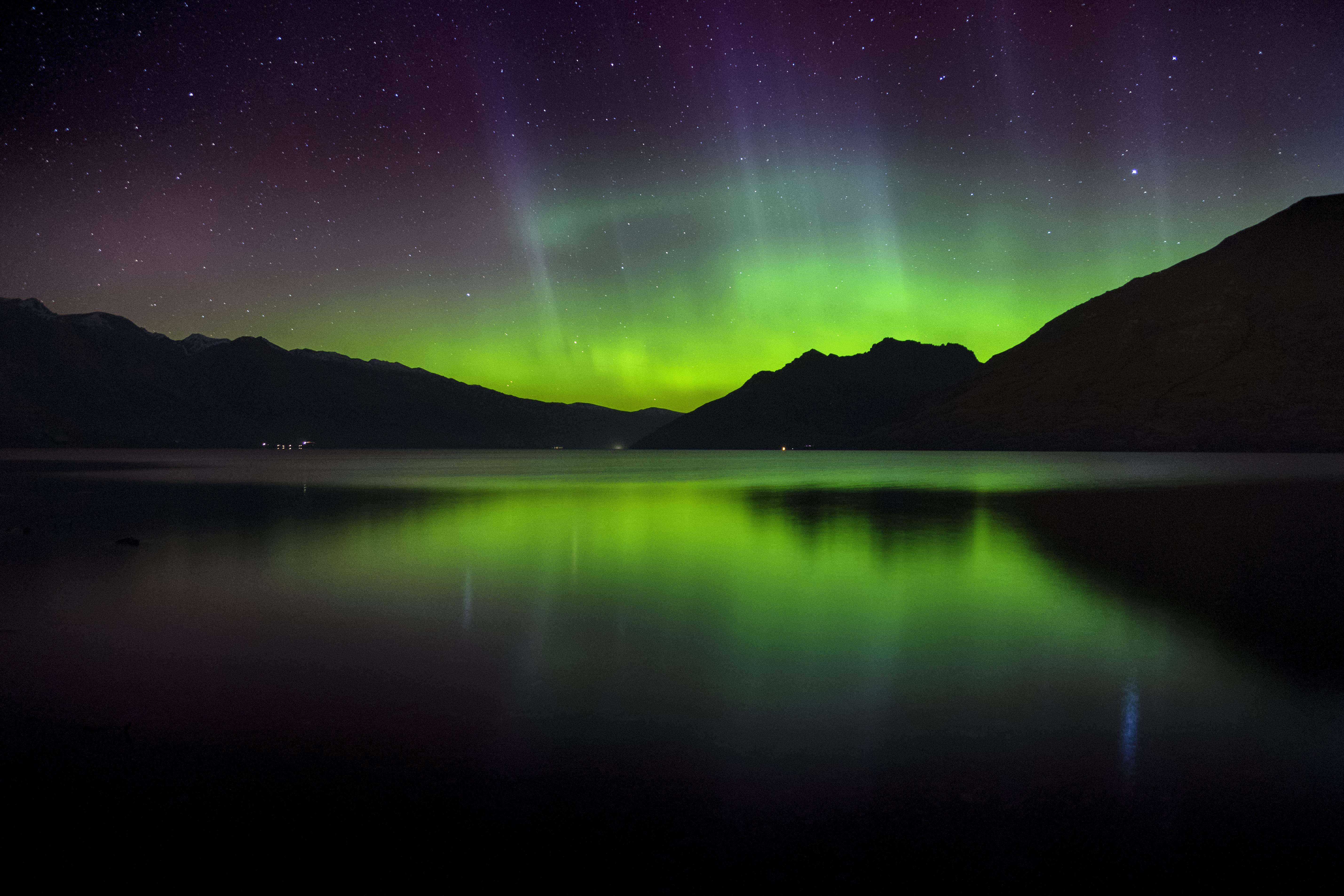 112051 Screensavers and Wallpapers New Zealand for phone. Download Nature, Sunset, Mountains, Lake, New Zealand, Northern Lights, Aurora Borealis, Aurora pictures for free