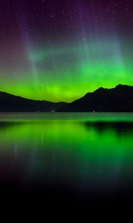 112051 скачать обои Природа, Северное Сияние, Аврора, Закат, Озеро, Новая Зеландия, Горы - заставки и картинки бесплатно