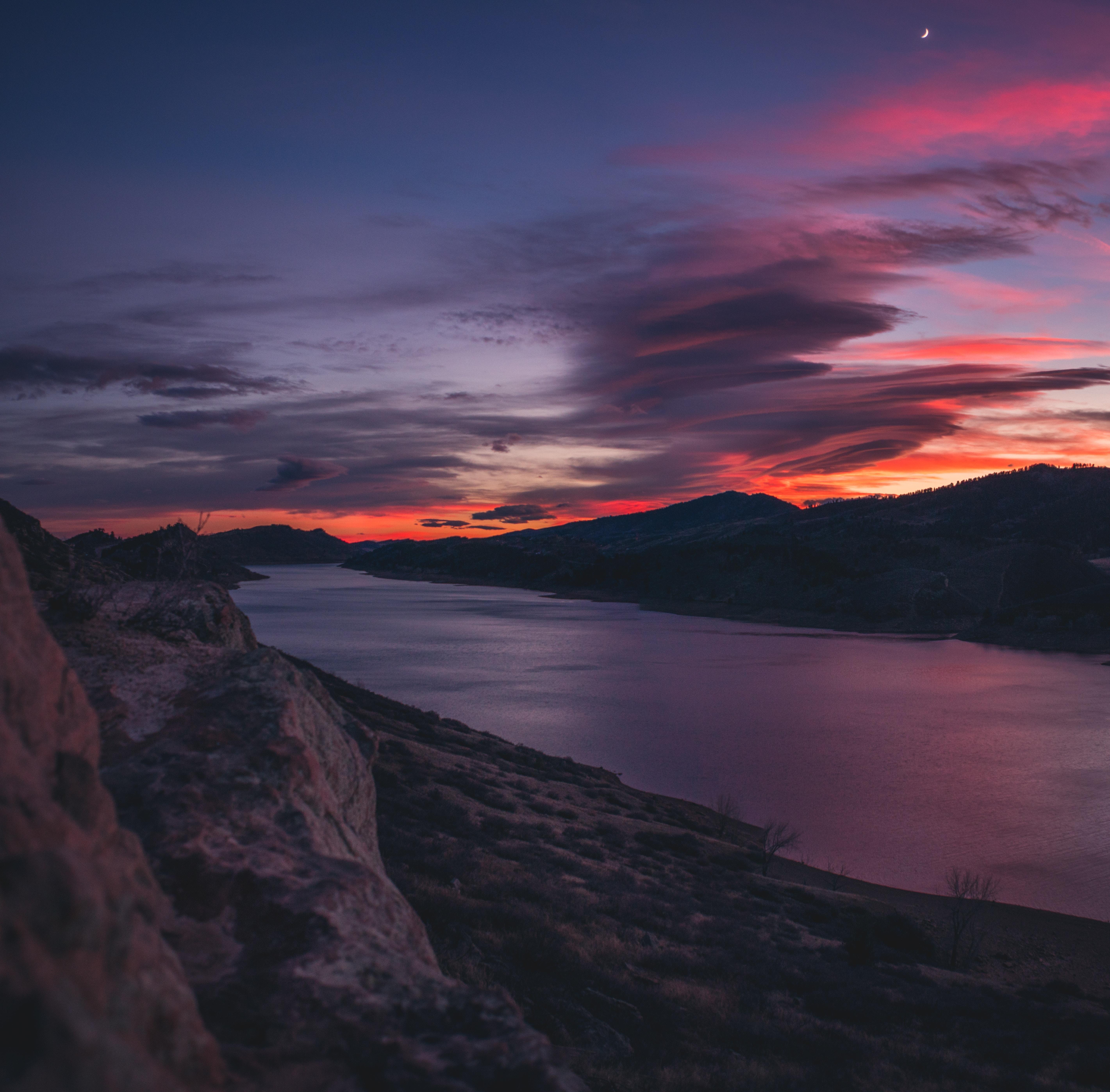 103821 скачать обои Закат, Река, Природа, Небо, Горы - заставки и картинки бесплатно