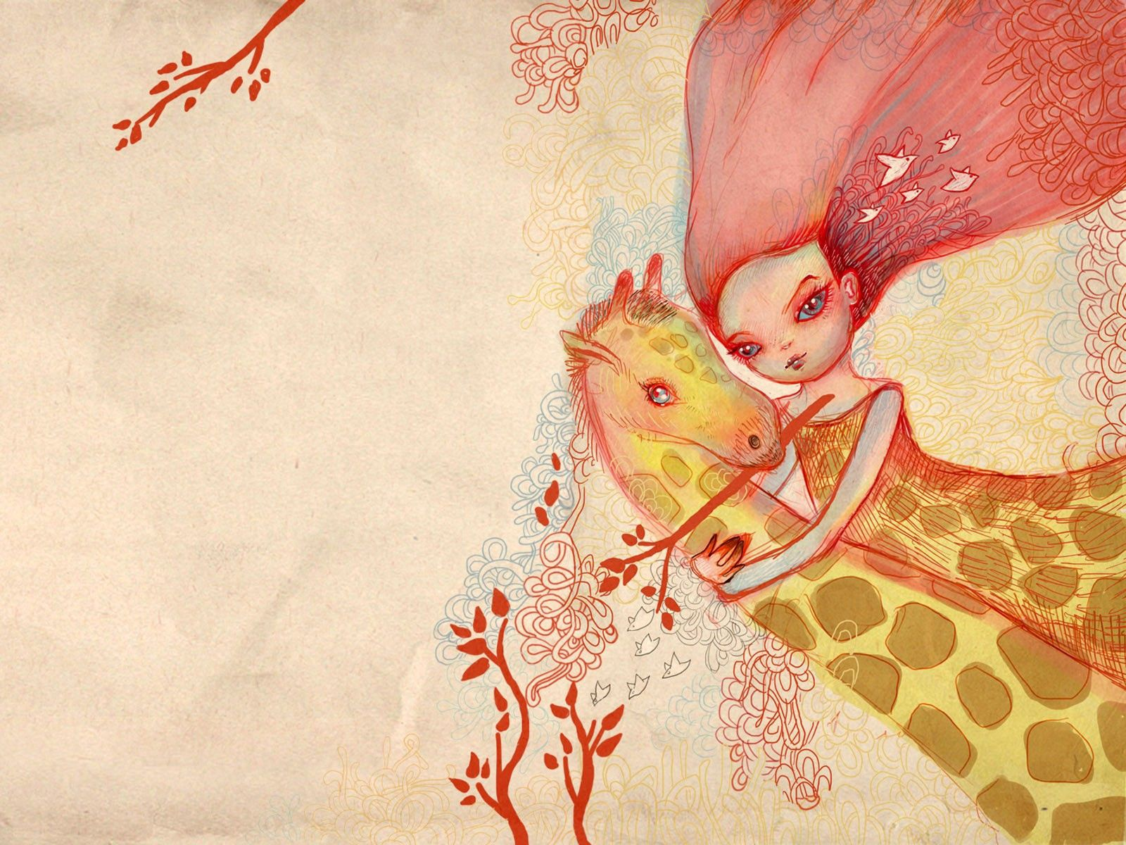 104758 免費下載壁紙 艺术, 女孩, 图片, 图 10, 长颈鹿, 拥抱 屏保和圖片