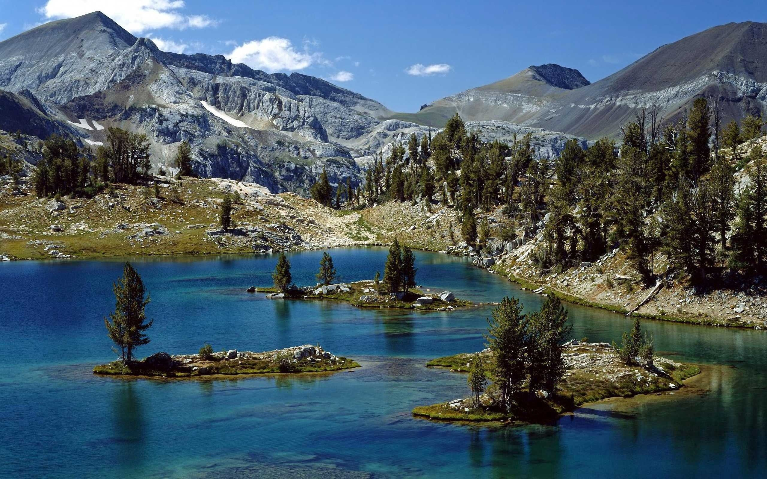 80842 скачать обои Горы, Природа, Деревья, Море, Озеро - заставки и картинки бесплатно