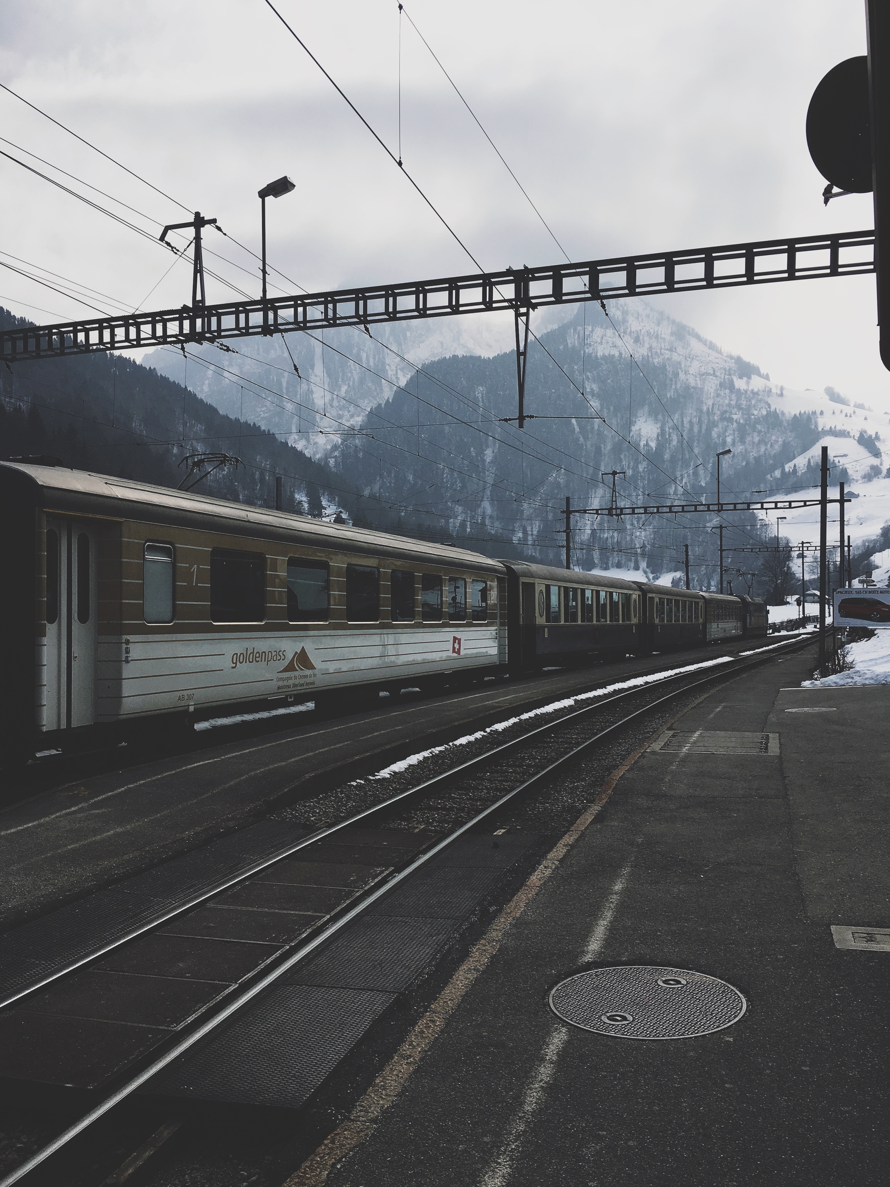 115576 Screensavers and Wallpapers Train for phone. Download Winter, Mountains, Miscellanea, Miscellaneous, Railway, Train pictures for free