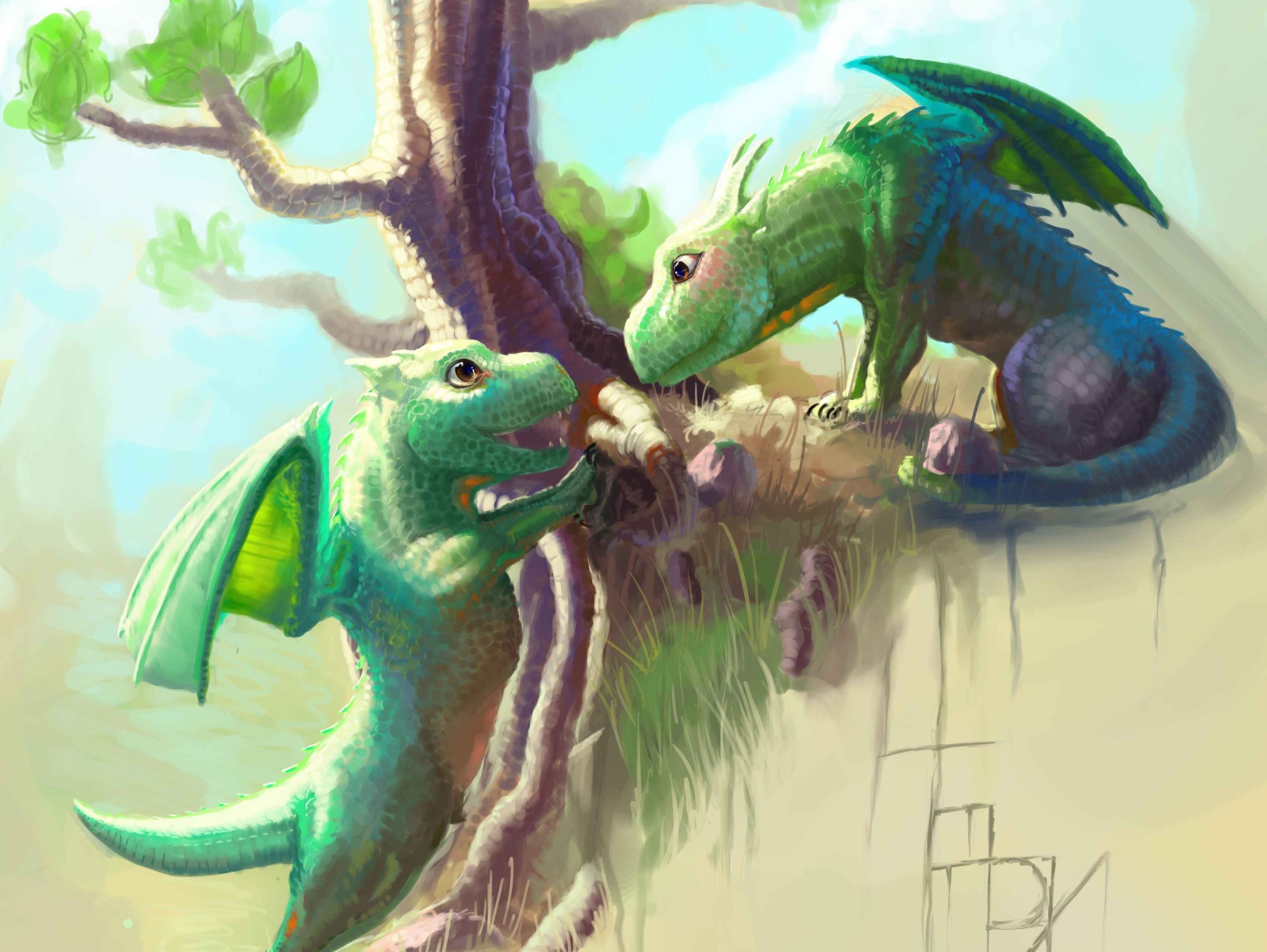 133064 Screensavers and Wallpapers Dragons for phone. Download Art, Cubs, Young, Wood, Tree, Dragons pictures for free
