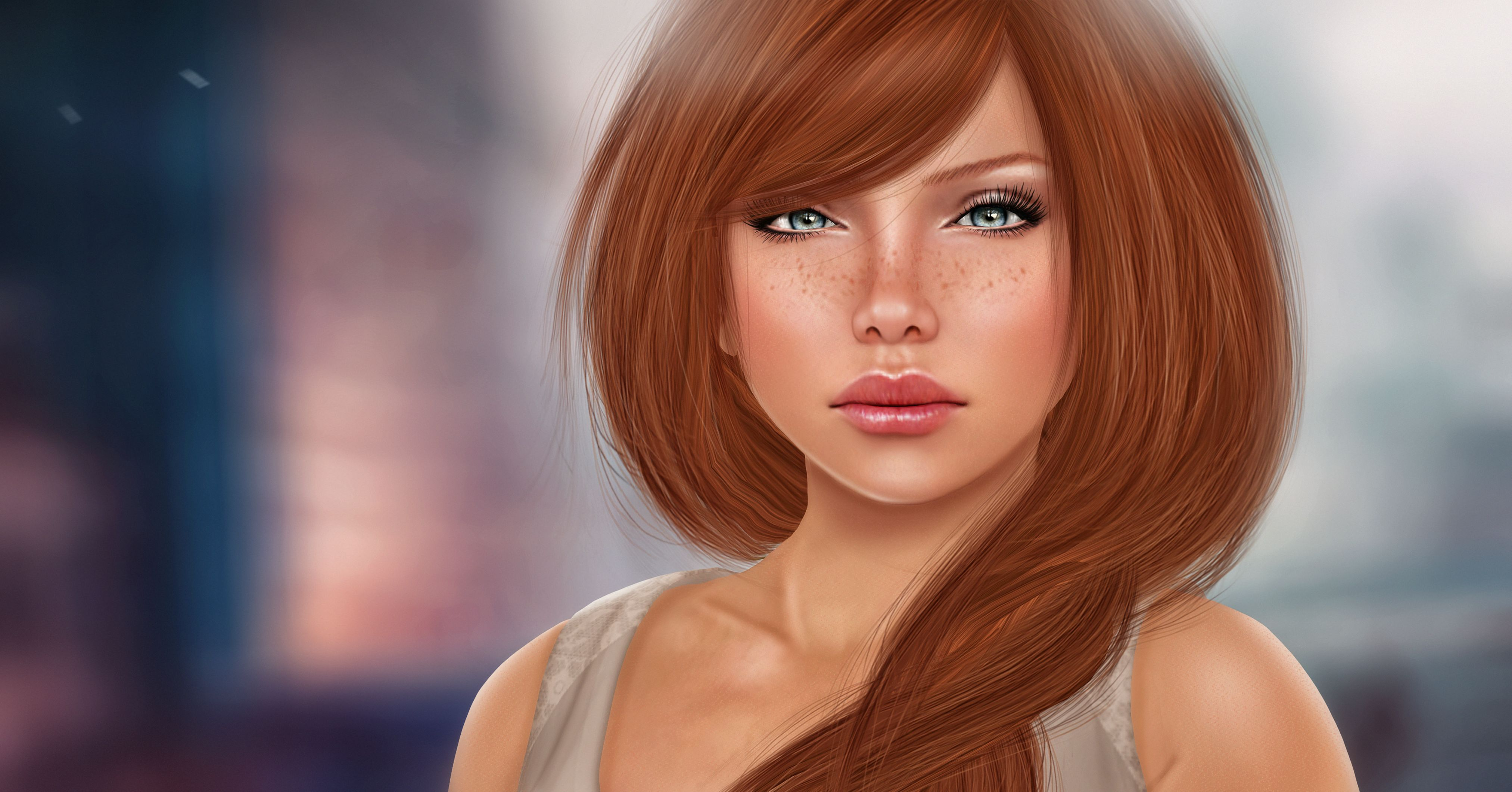 123907 download wallpaper Redhead, Freckles, Girl, Makeup, Art screensavers and pictures for free