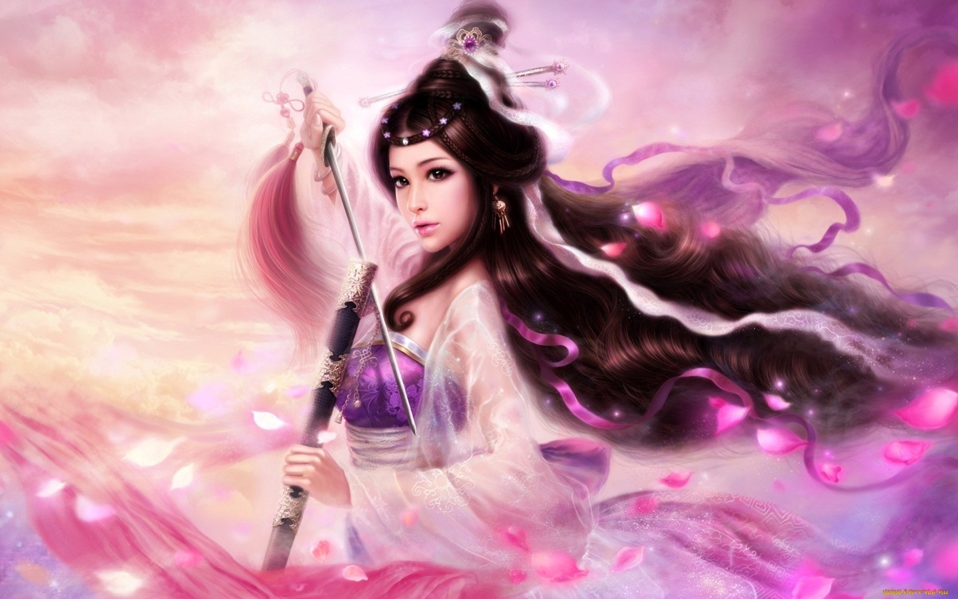 27742 download wallpaper Fantasy, People, Girls, Weapon screensavers and pictures for free