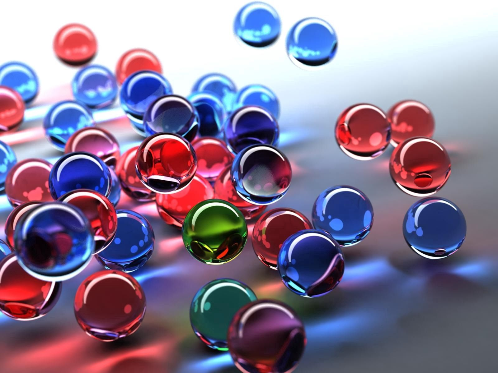 157934 download wallpaper Multicolored, Motley, 3D, Flight, Glass, Balls screensavers and pictures for free