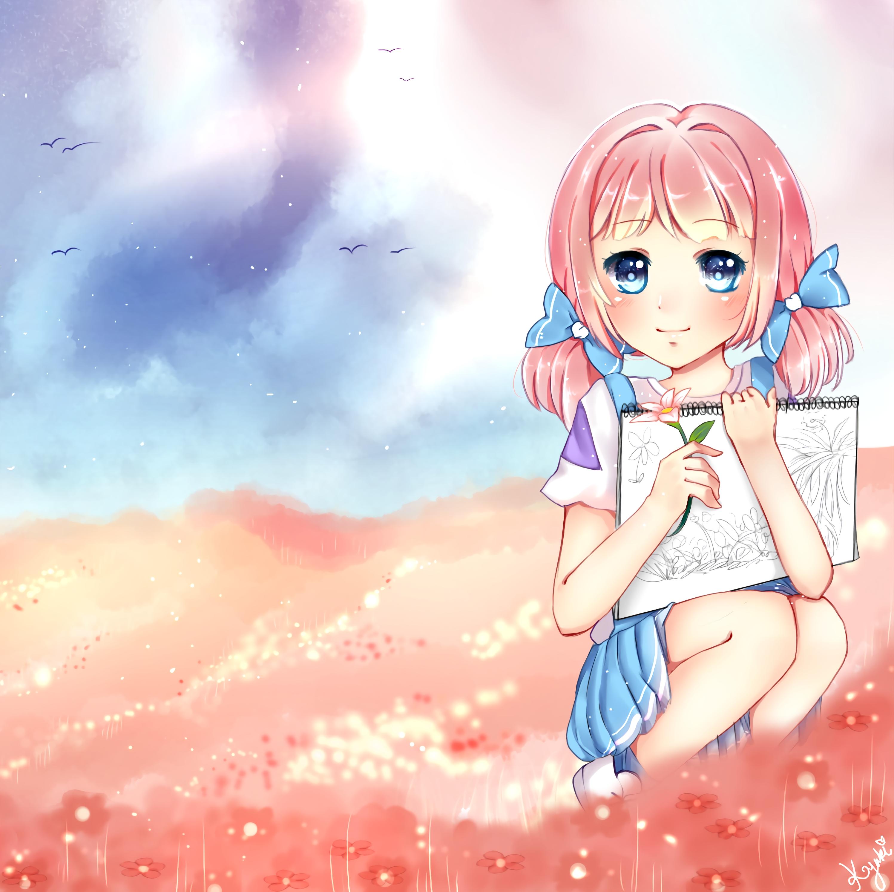 131137 Hintergrundbild herunterladen Anime, Mädchen, Kunst, Künstler, Feld, Das Mädchen - Bildschirmschoner und Bilder kostenlos