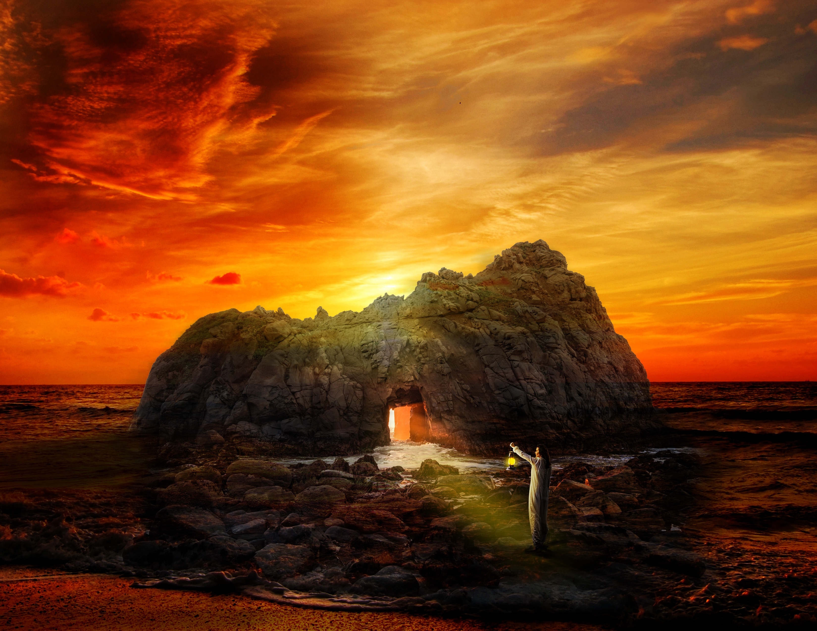 82981 download wallpaper Fantasy, Sea, Rock, Human, Person, Cave, Alone, Lonely screensavers and pictures for free