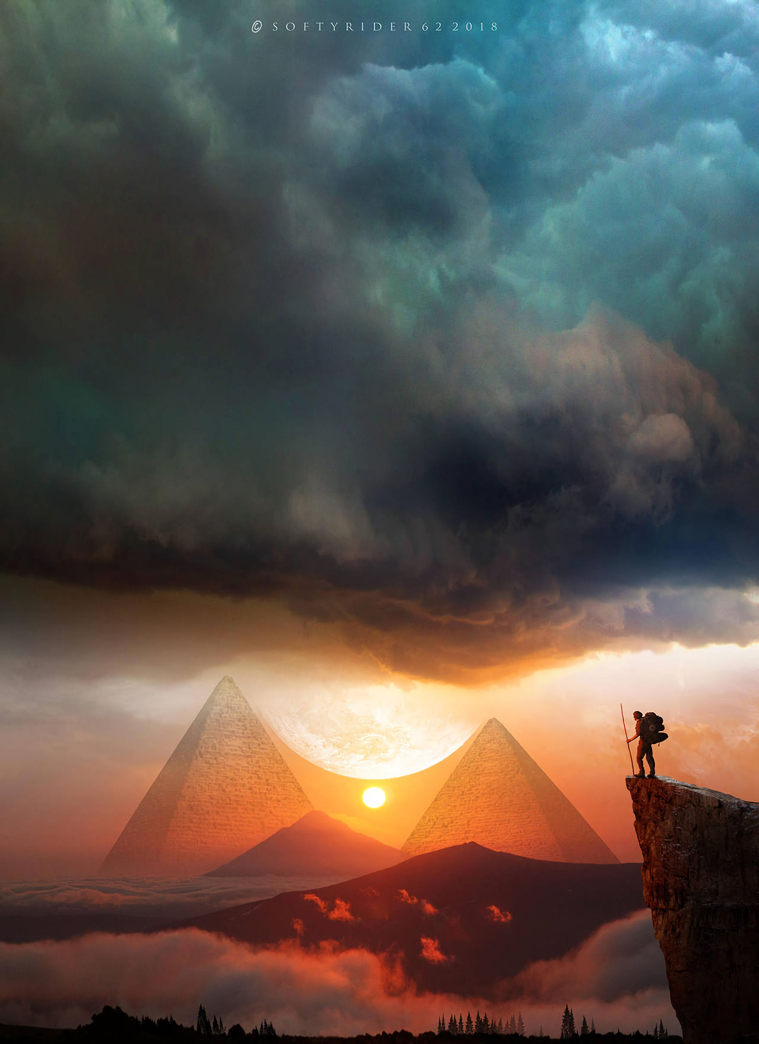 112371 download wallpaper Landscape, Sunset, Art, Clouds, Pyramids, Journey, Hills screensavers and pictures for free