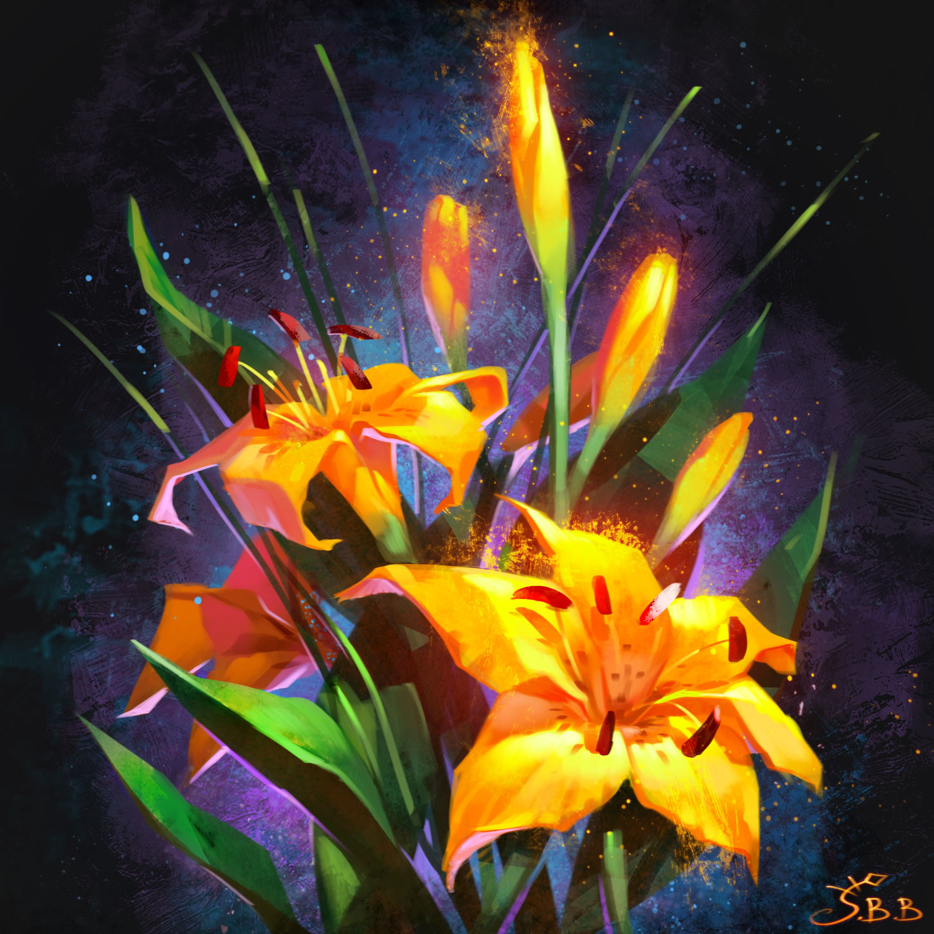 153196 download wallpaper Flowers, Art, Lilies, Bouquet screensavers and pictures for free