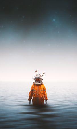 64789 descargar fondo de pantalla Cosmonauta, Traje Espacial, Mariposas, Surrealismo, Mar, Horizonte, Universo: protectores de pantalla e imágenes gratis