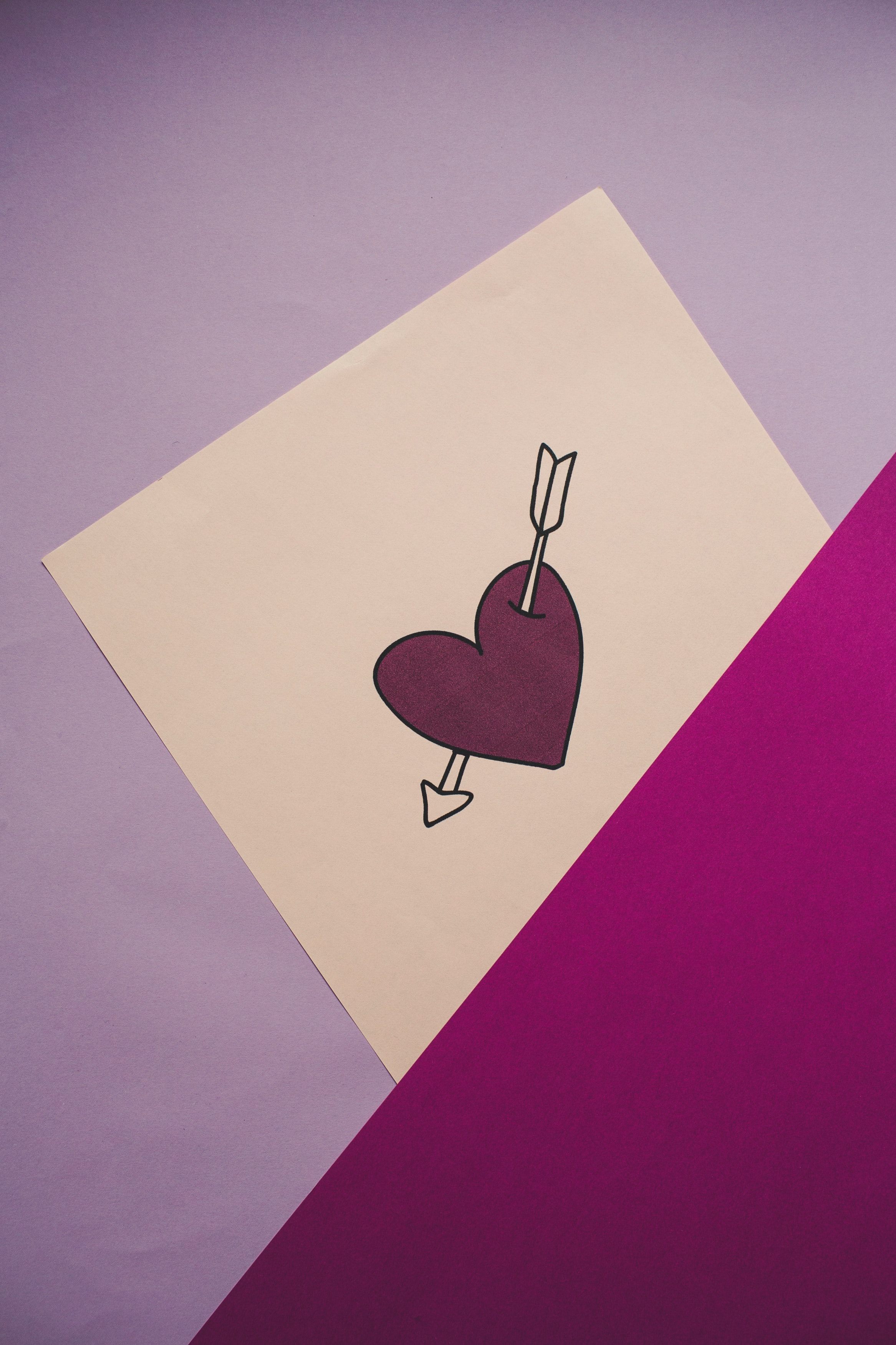 66485 download wallpaper Heart, Arrow, Love, Paper screensavers and pictures for free