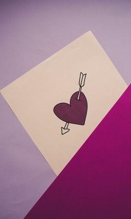 66485 télécharger le fond d'écran Un Cœur, Cœur, Flèche, Amour, Papier - économiseurs d'écran et images gratuitement