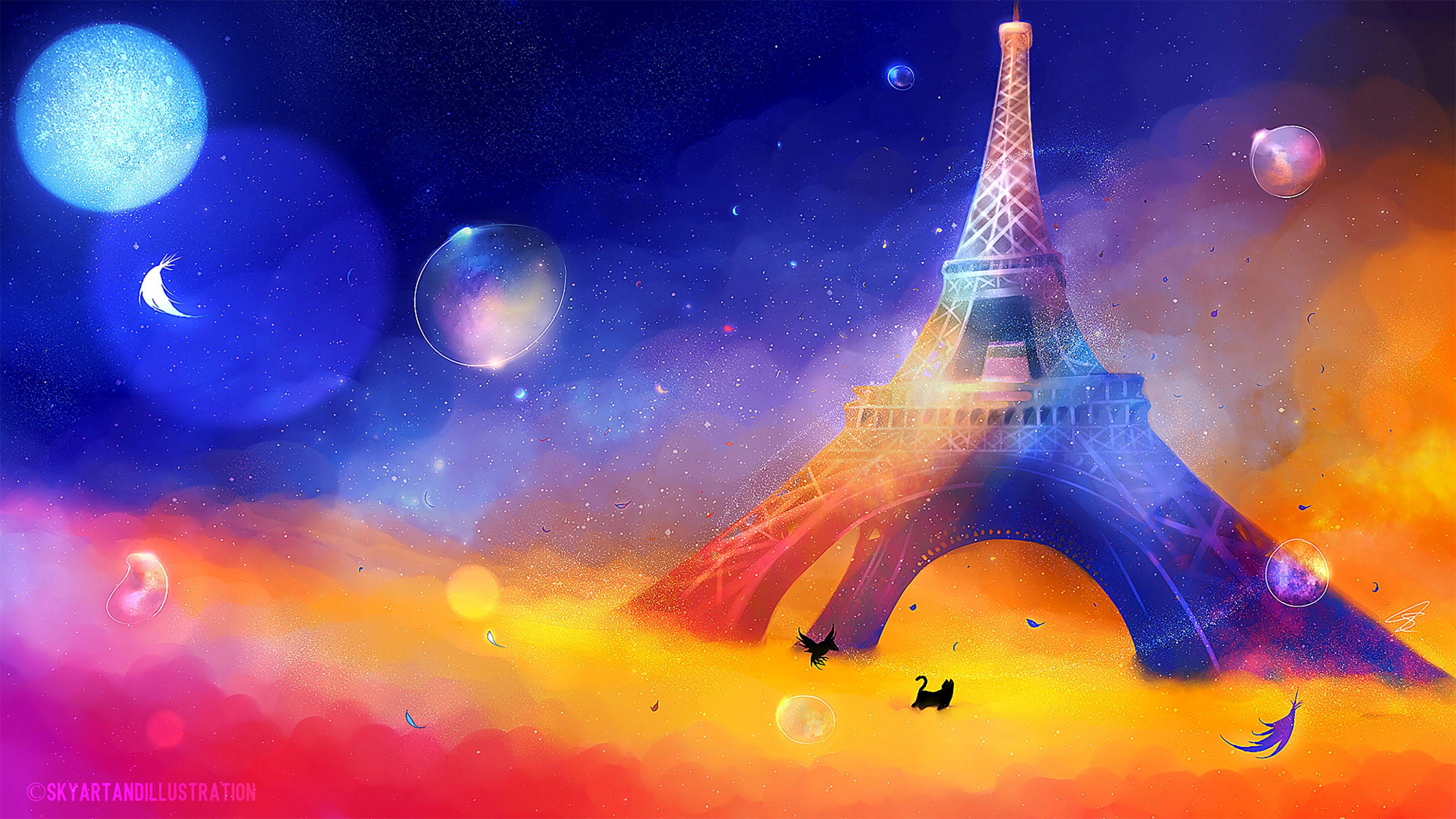 102047 télécharger le fond d'écran Art, Chat, Oiseau, Multicolore, Hétéroclite, Tour Eiffel - économiseurs d'écran et images gratuitement