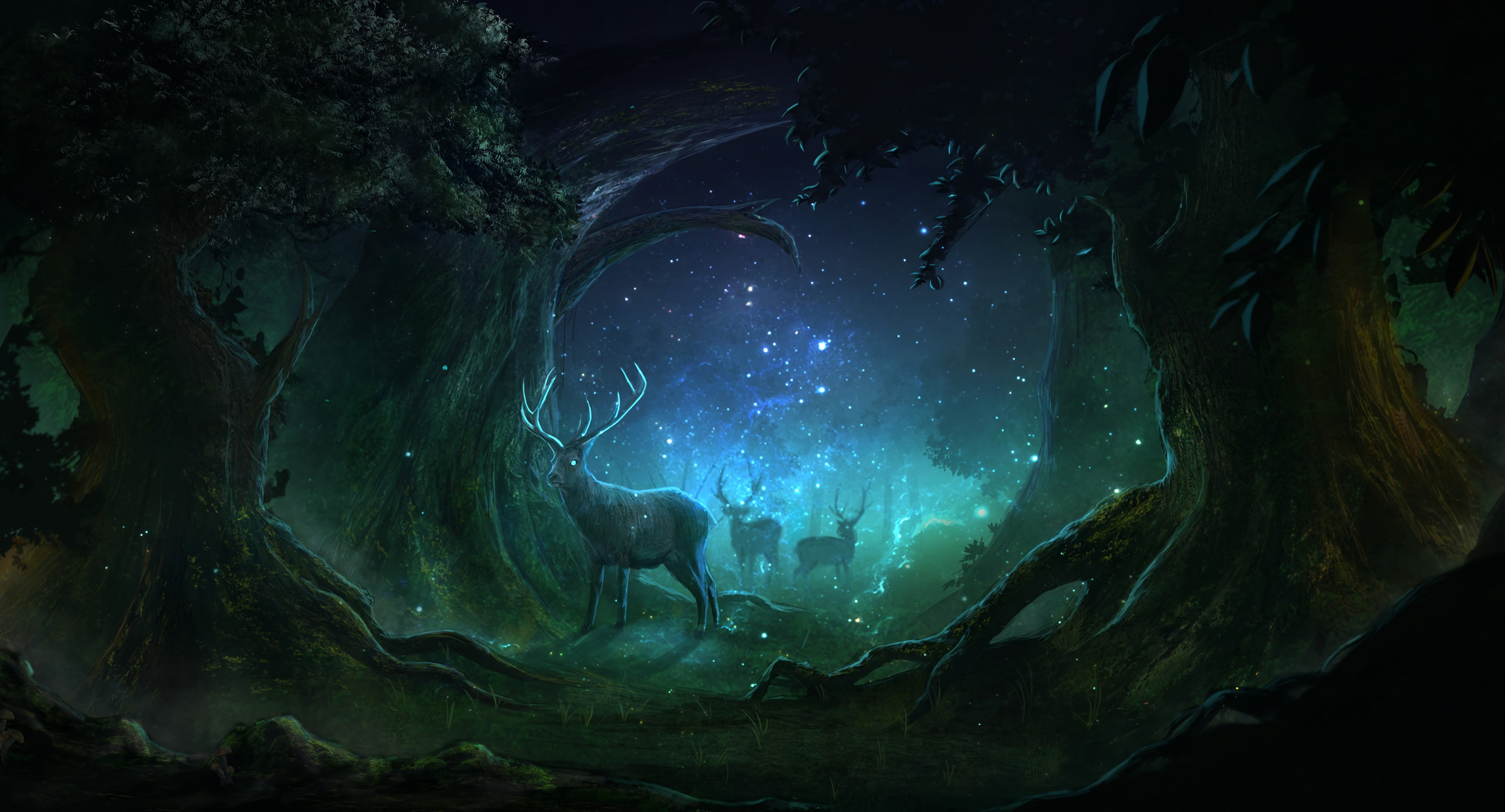 89824 download wallpaper Art, Deers, Forest, Night, Lights, Magic screensavers and pictures for free