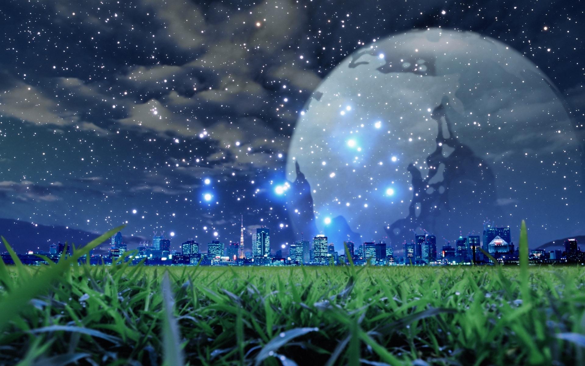 25189 скачать обои Пейзаж, Города, Фэнтези, Трава, Небо, Звезды, Ночь, Луна - заставки и картинки бесплатно