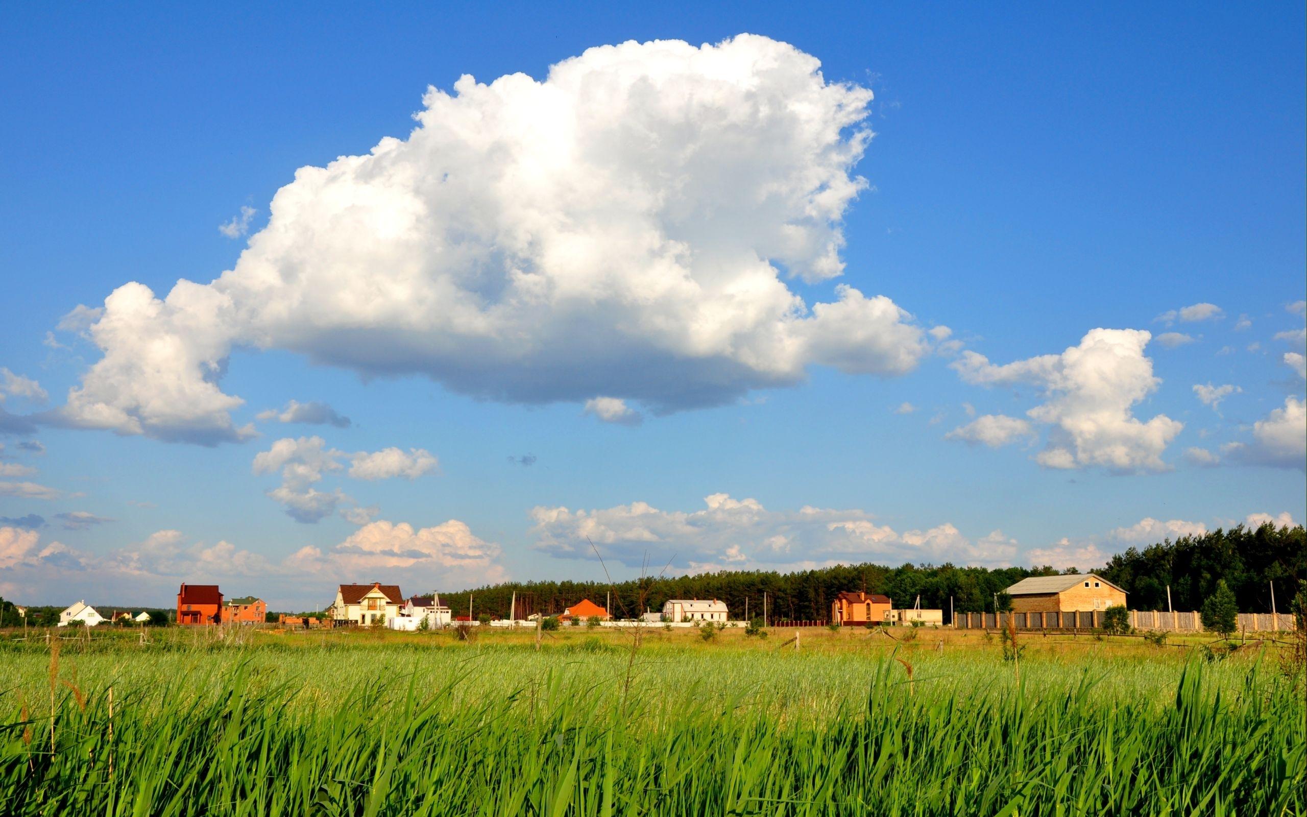 23789 скачать обои Пейзаж, Дома, Трава, Небо, Облака - заставки и картинки бесплатно